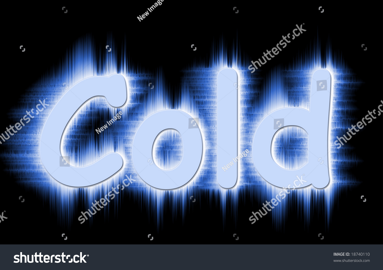 the word cold in frosty frozen letters stock photo