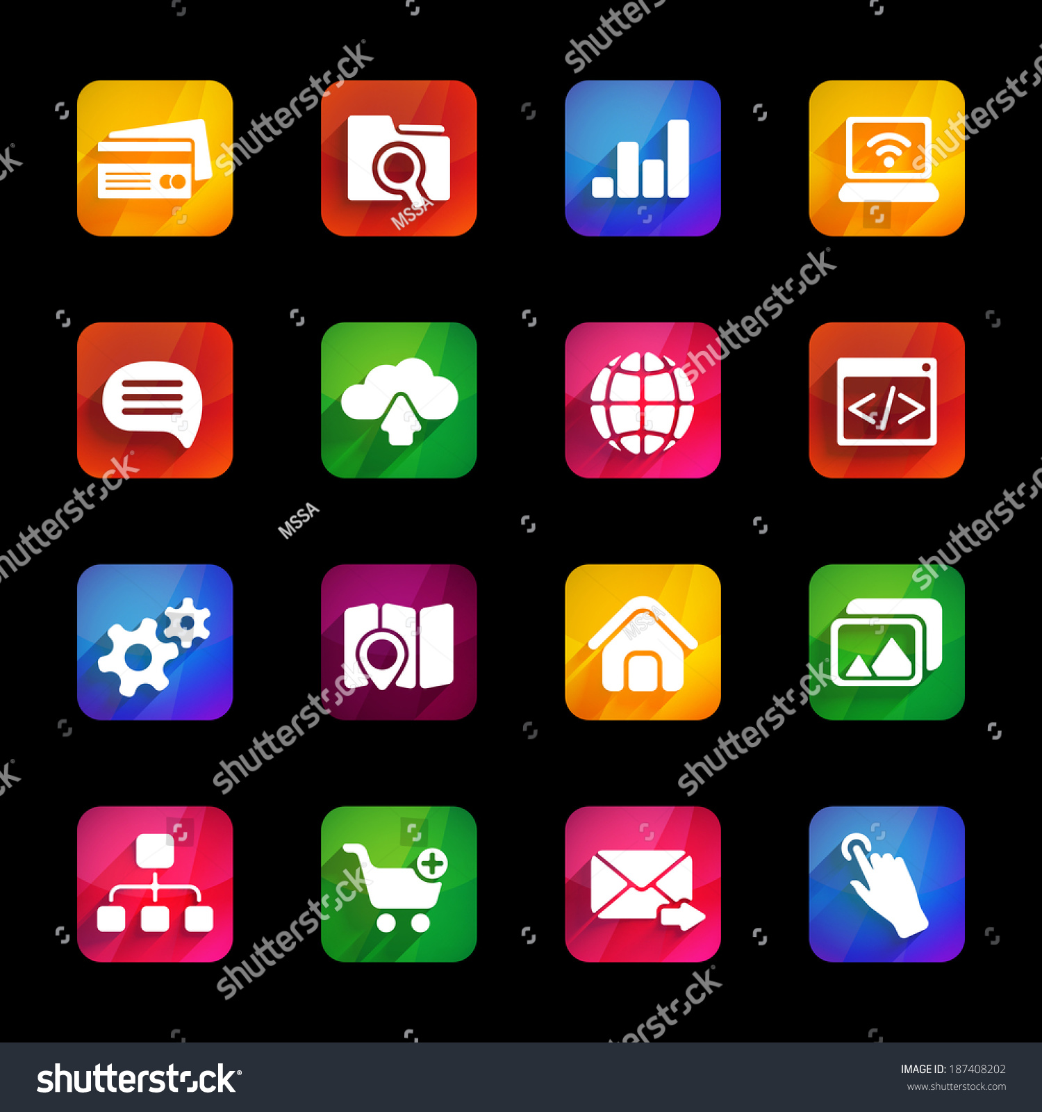 trendy icons with long shadow on colored square plates  sc 1 st  Shutterstock & Trendy Icons Long Shadow On Colored Stock Illustration 187408202 ...