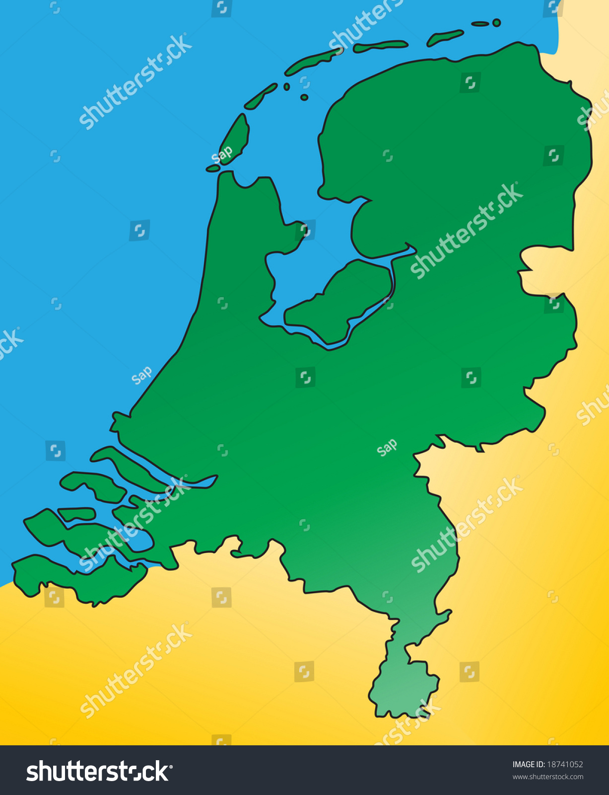 detailed map netherlands holland europe vector stock vector