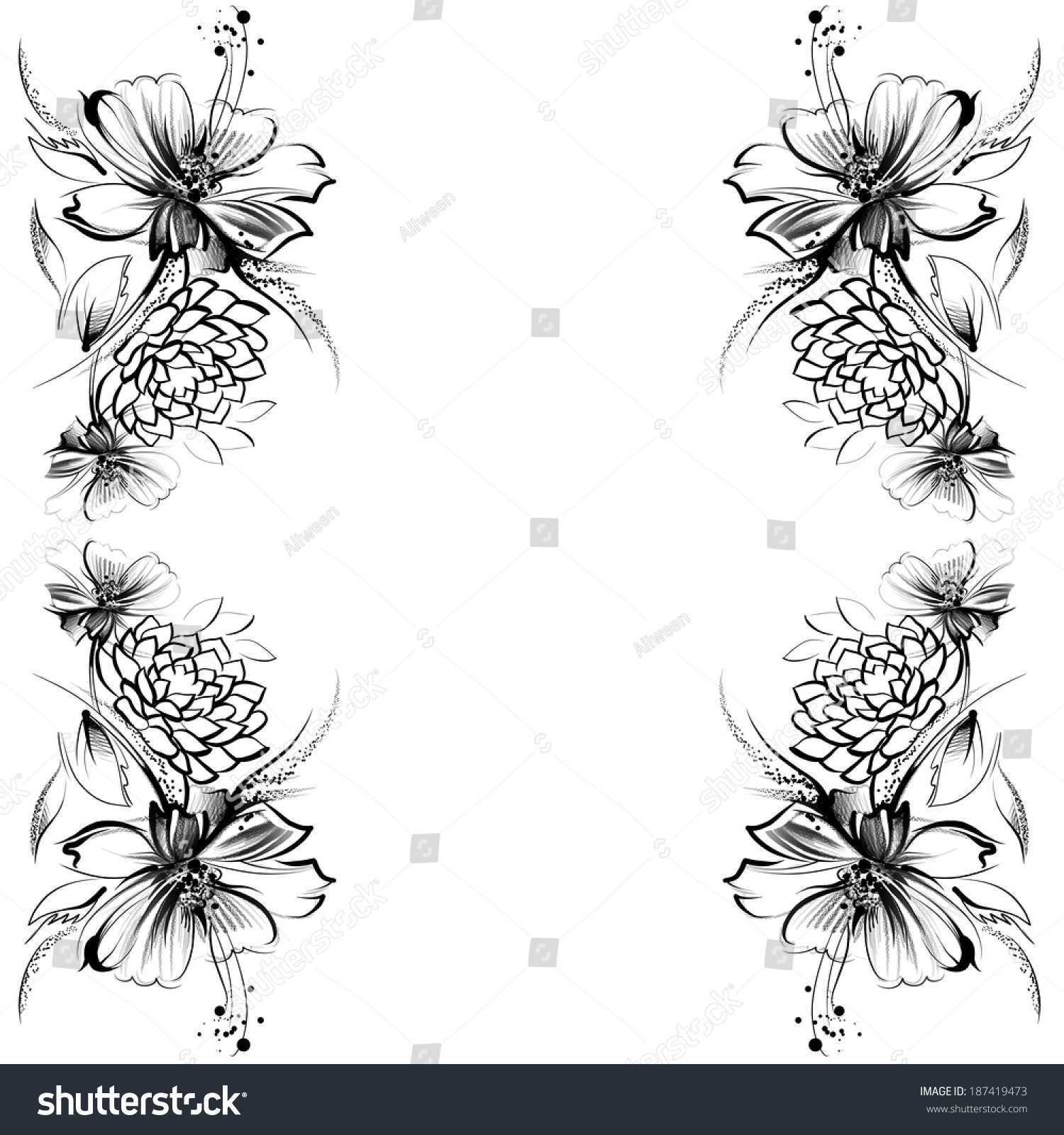 Flowers drawing simple pencil coal on stock illustration for Simple flower designs for pencil drawing