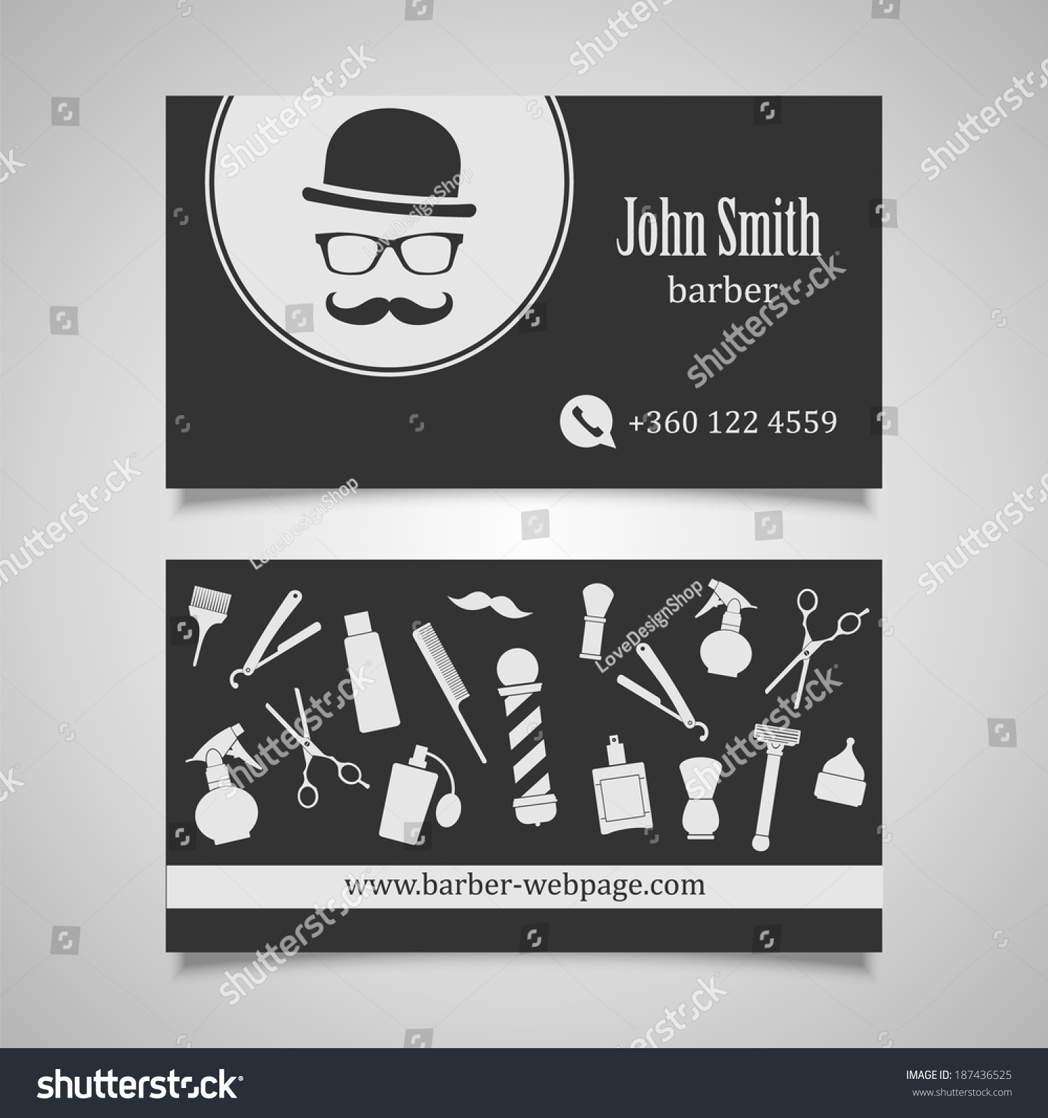 Royalty free hair salon barber business card design 187436525 hair salon barber business card design template 187436525 cheaphphosting Images