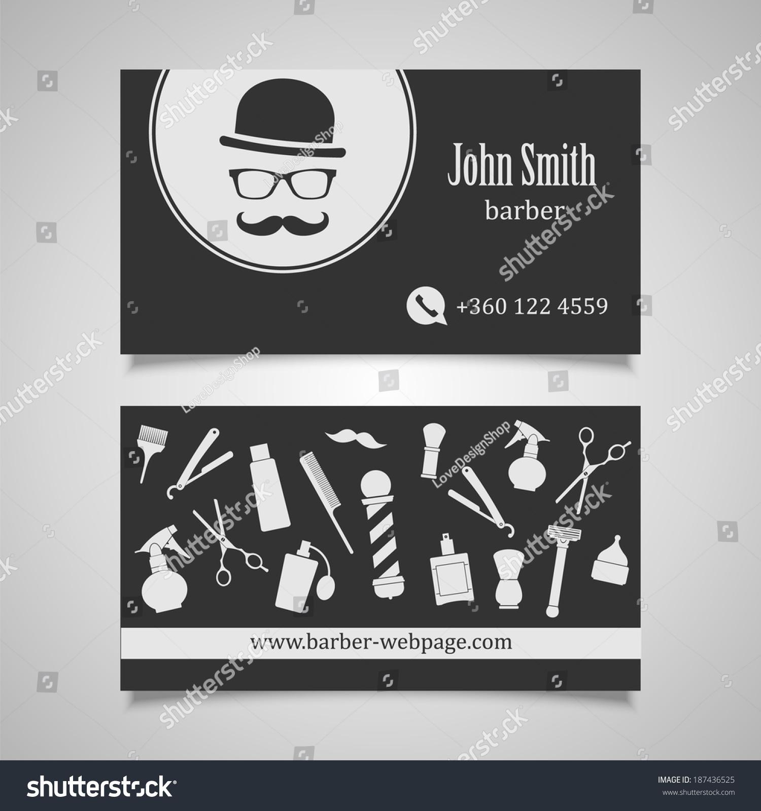 Hair Salon Barber Business Card Design Stock Photo (Photo, Vector ...