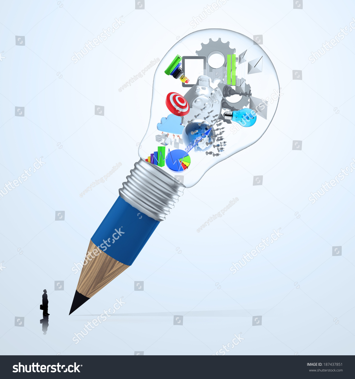 Businessman Looking Earth Inside 3 D Pencil Stock Illustration The Diagram At 3d Lightbulb As Creative Concept