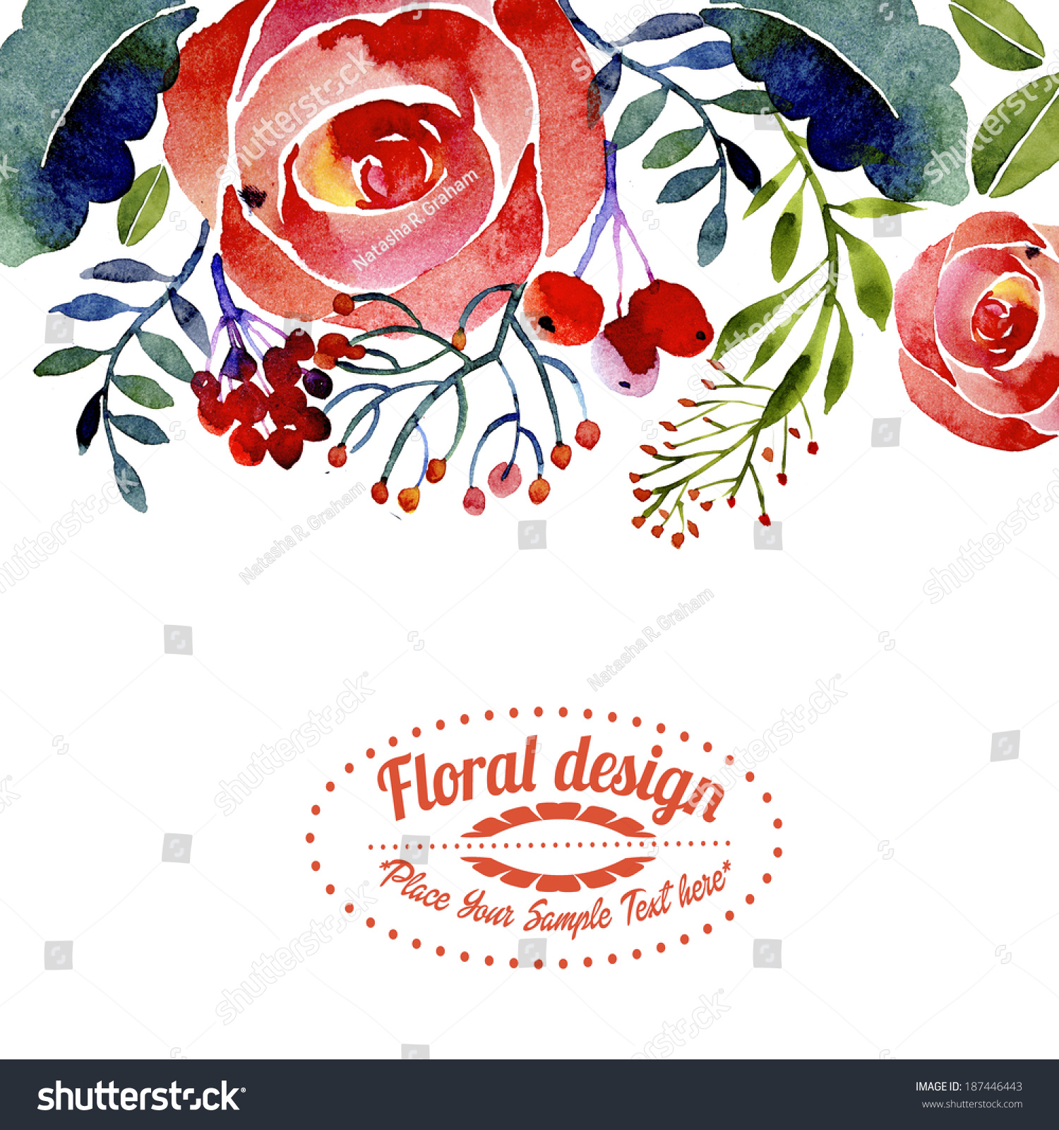 contemporary floral greeting card or border design stock