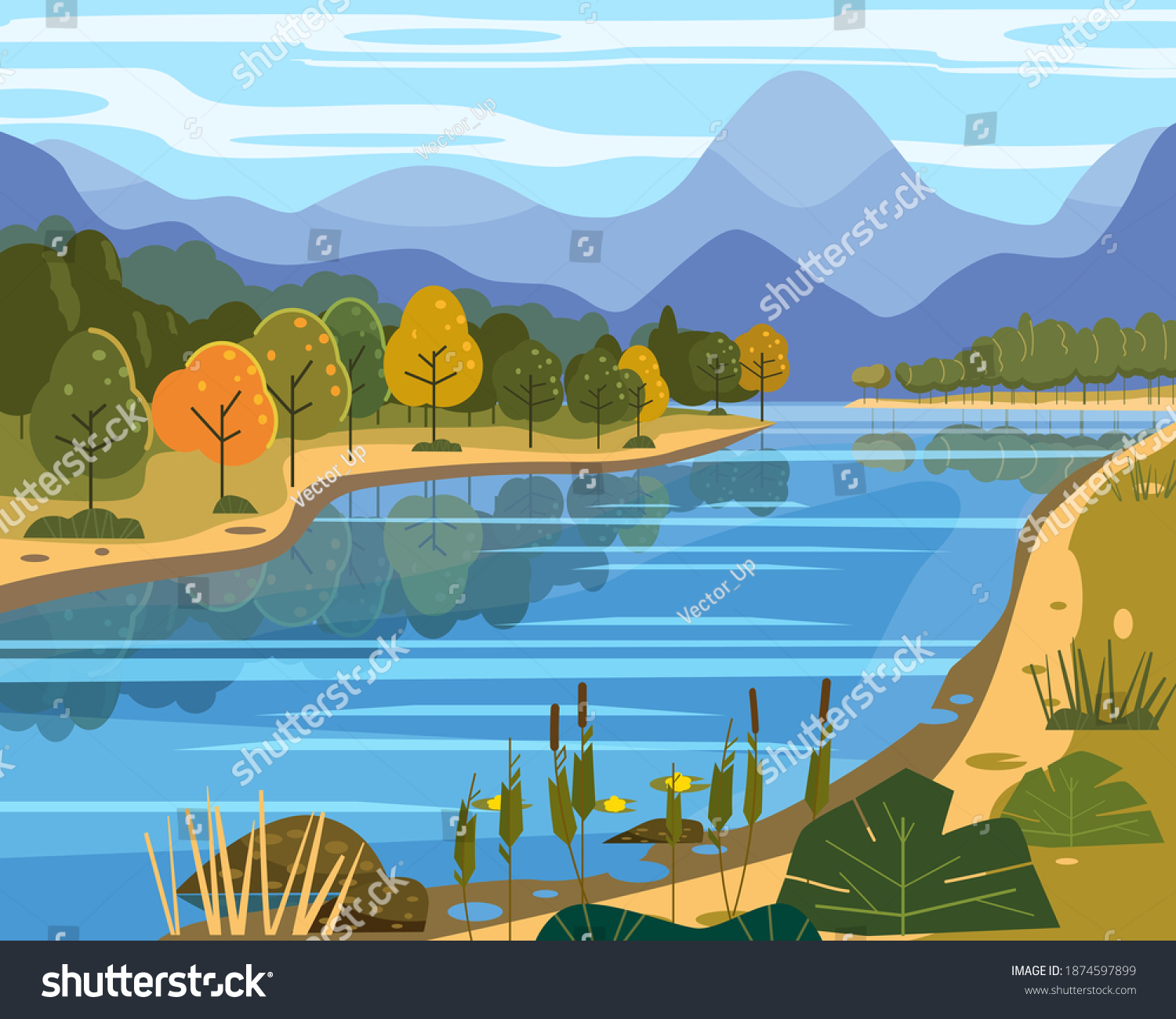 Landscape river flowing to mountains, hills. Coast autumn scenic forest, meadows. Vector illustration background poster banner trendy flat cartoon style #1874597899