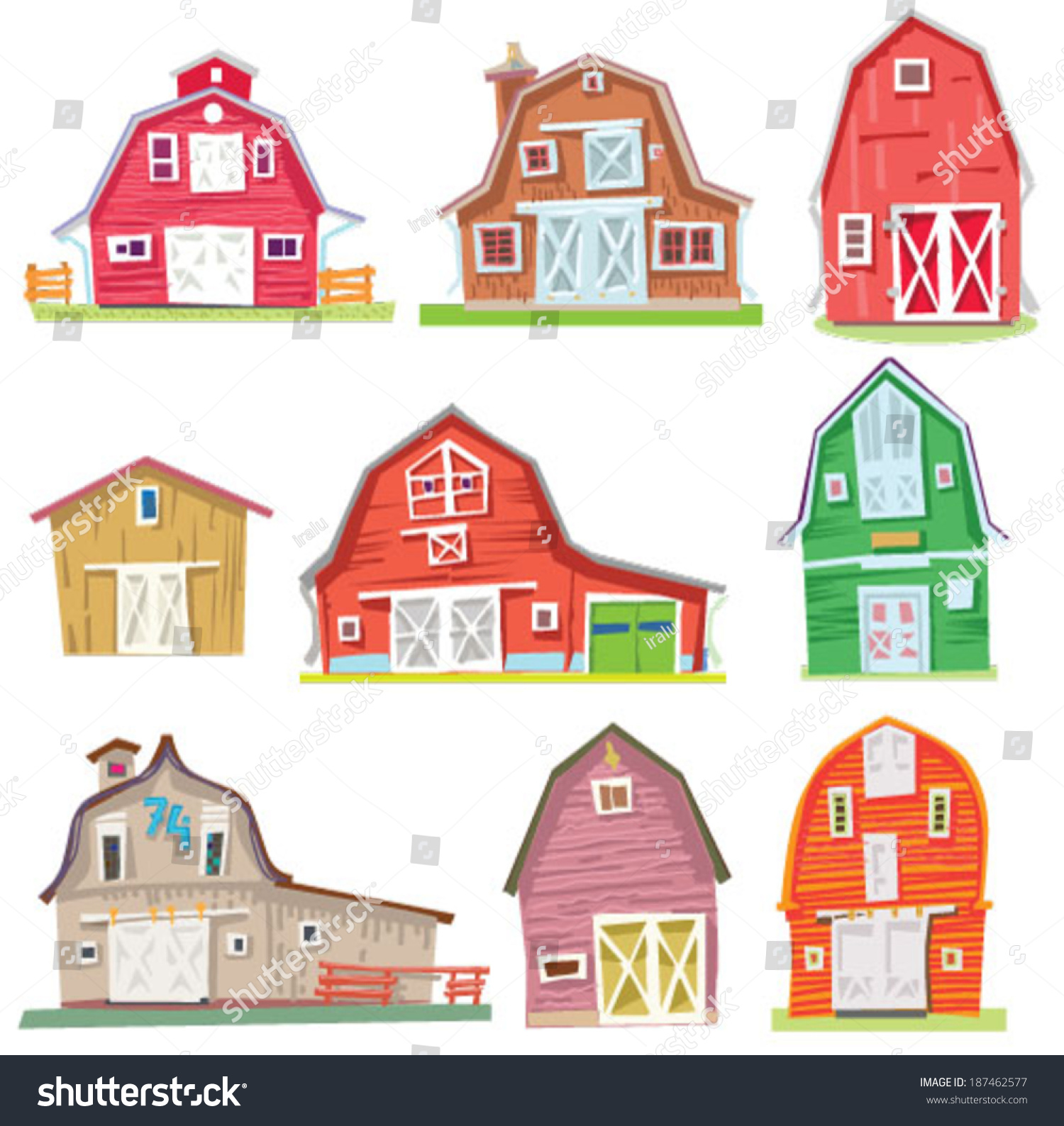 Set Vintage Barns Cartoon Stock Vector 187462577