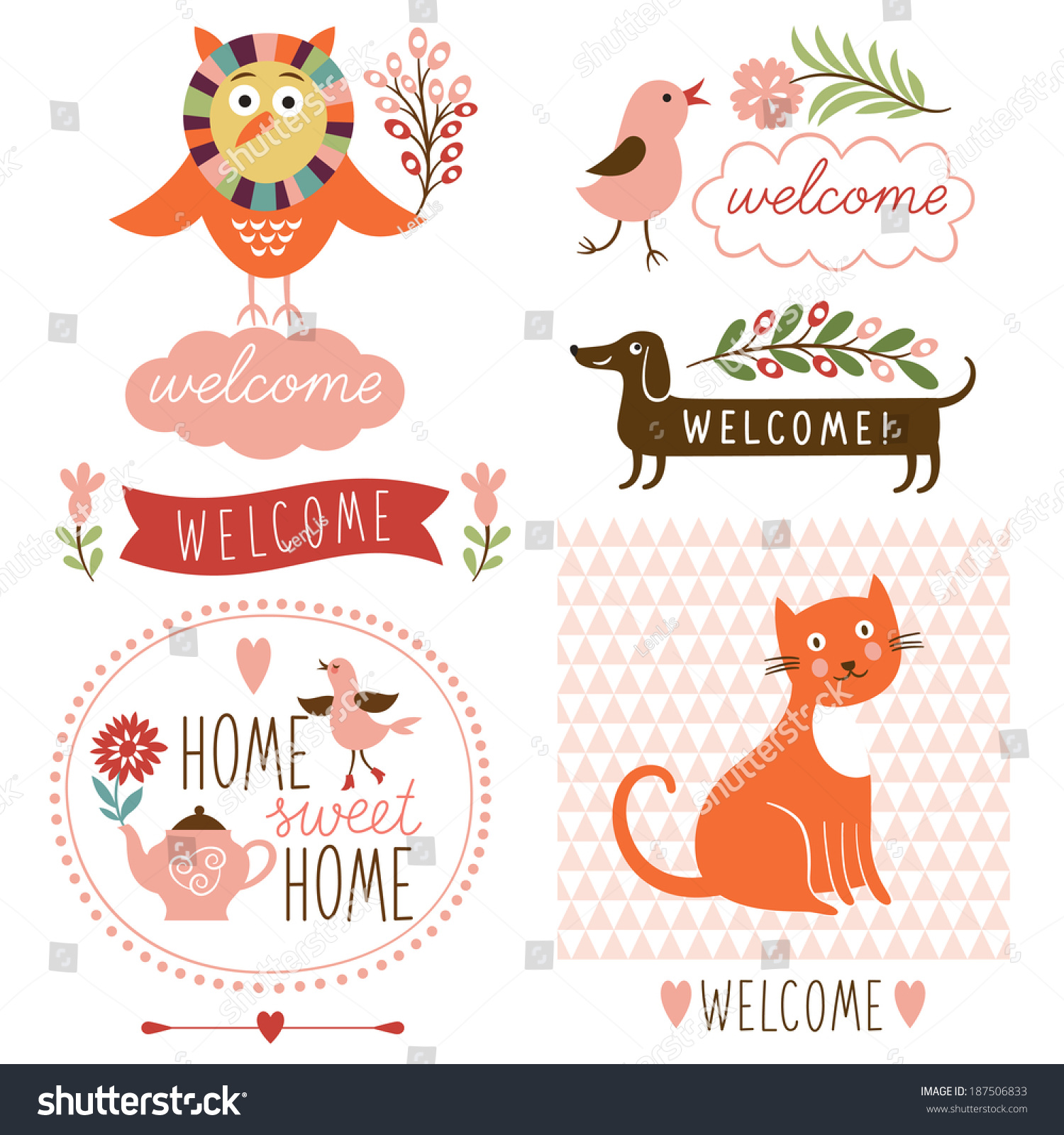 Welcome home decor elements stock vector illustration for Welcome home decorations