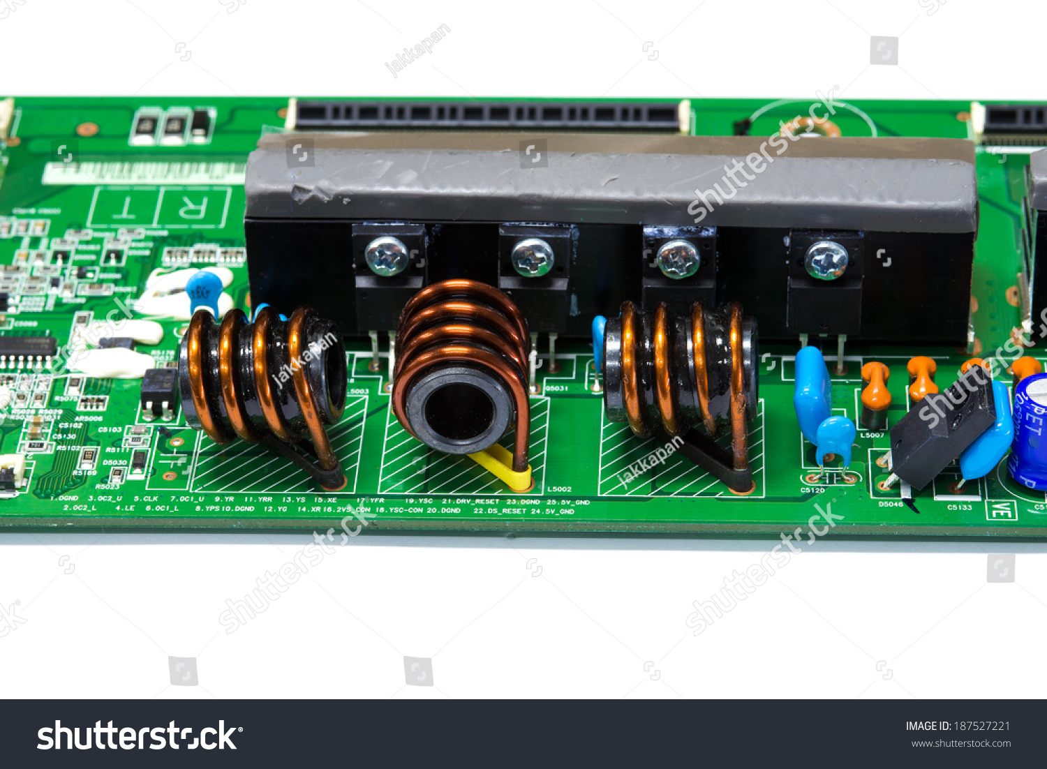 Integrated Circuit Inductor Ferrite Core Electronic Stock Photo In Board Isolate On White