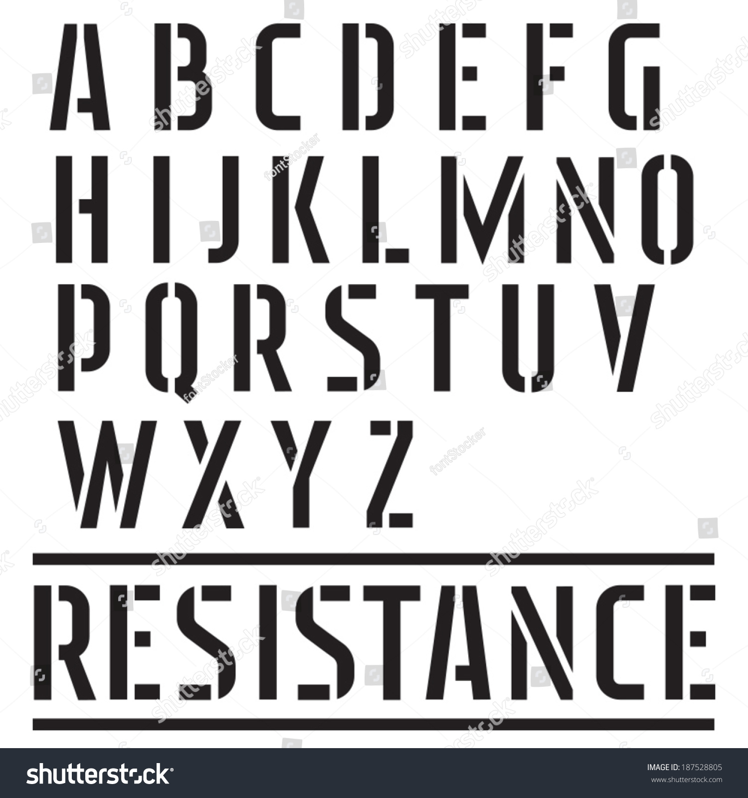 Stencil Font Street Art Military Type Stock Vector Royalty Free