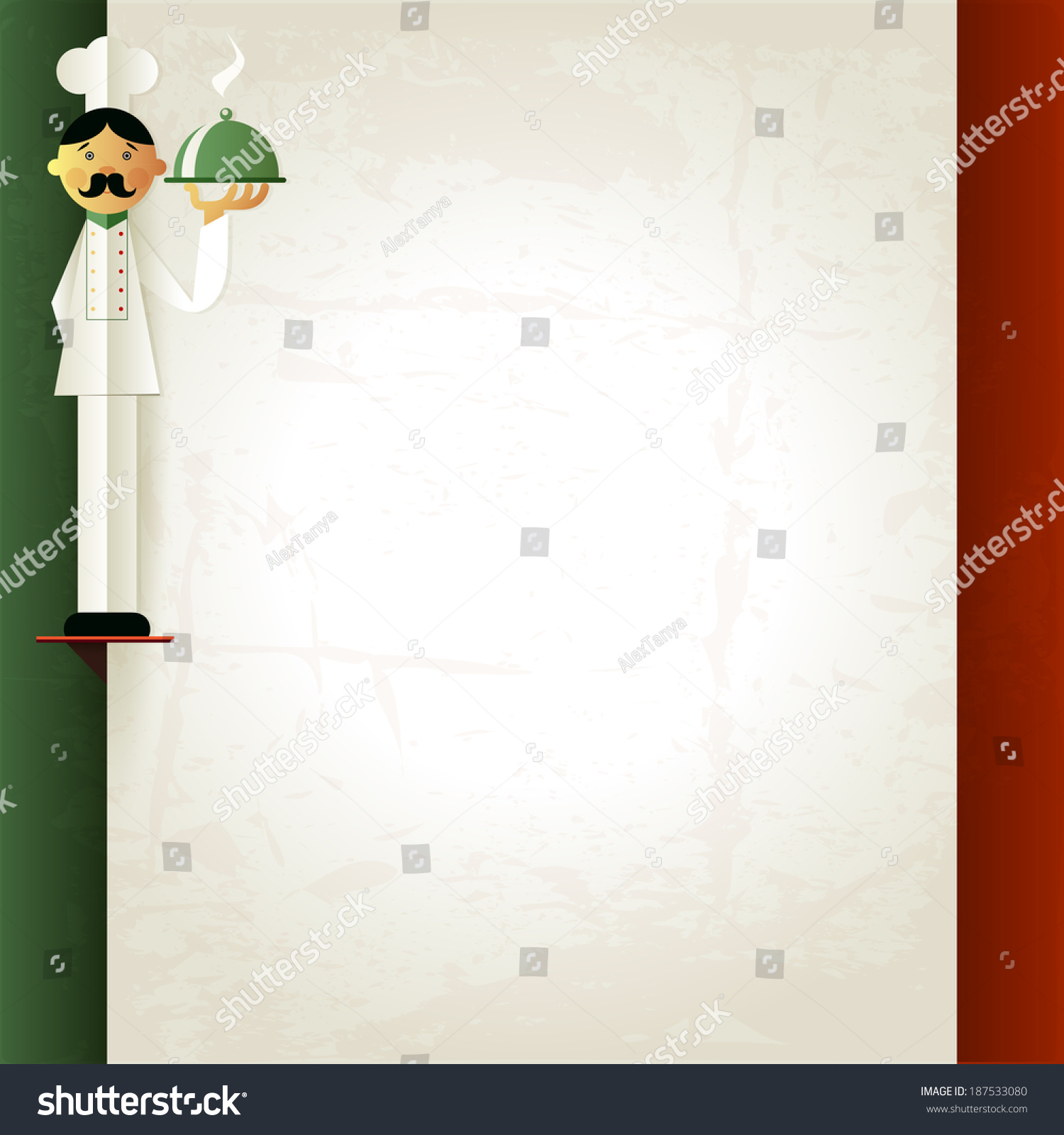 italian menu chef plate menu template stock illustration 187533080