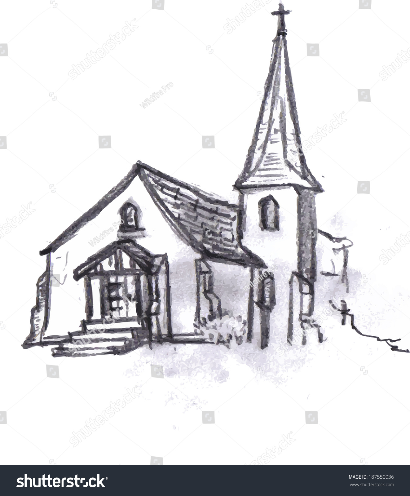 Pencil sketch of an english church in vector format