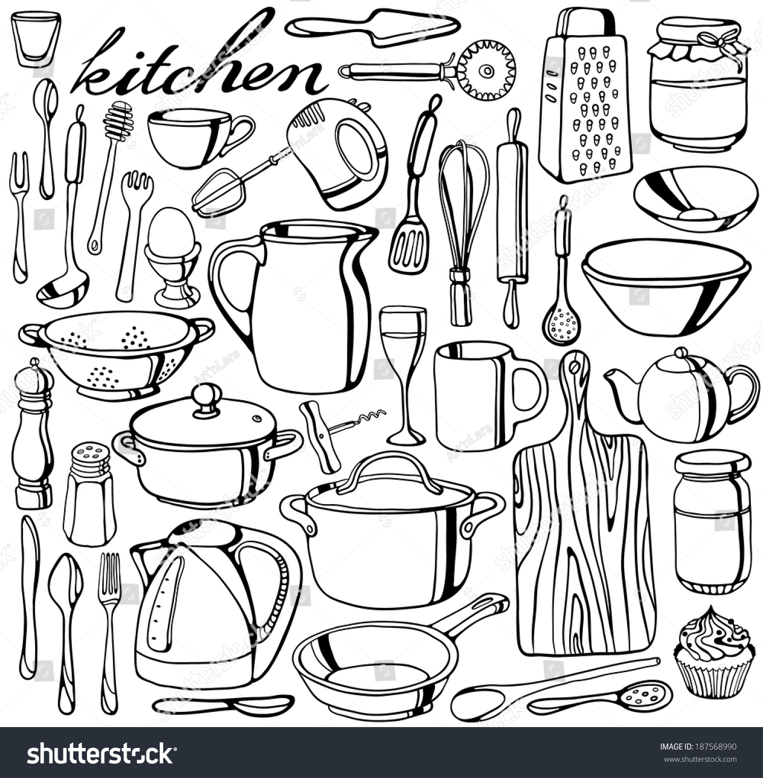 Kitchen Tools Drawing Handdrawn Kitchen Tools Collection Stock Vector 187568990