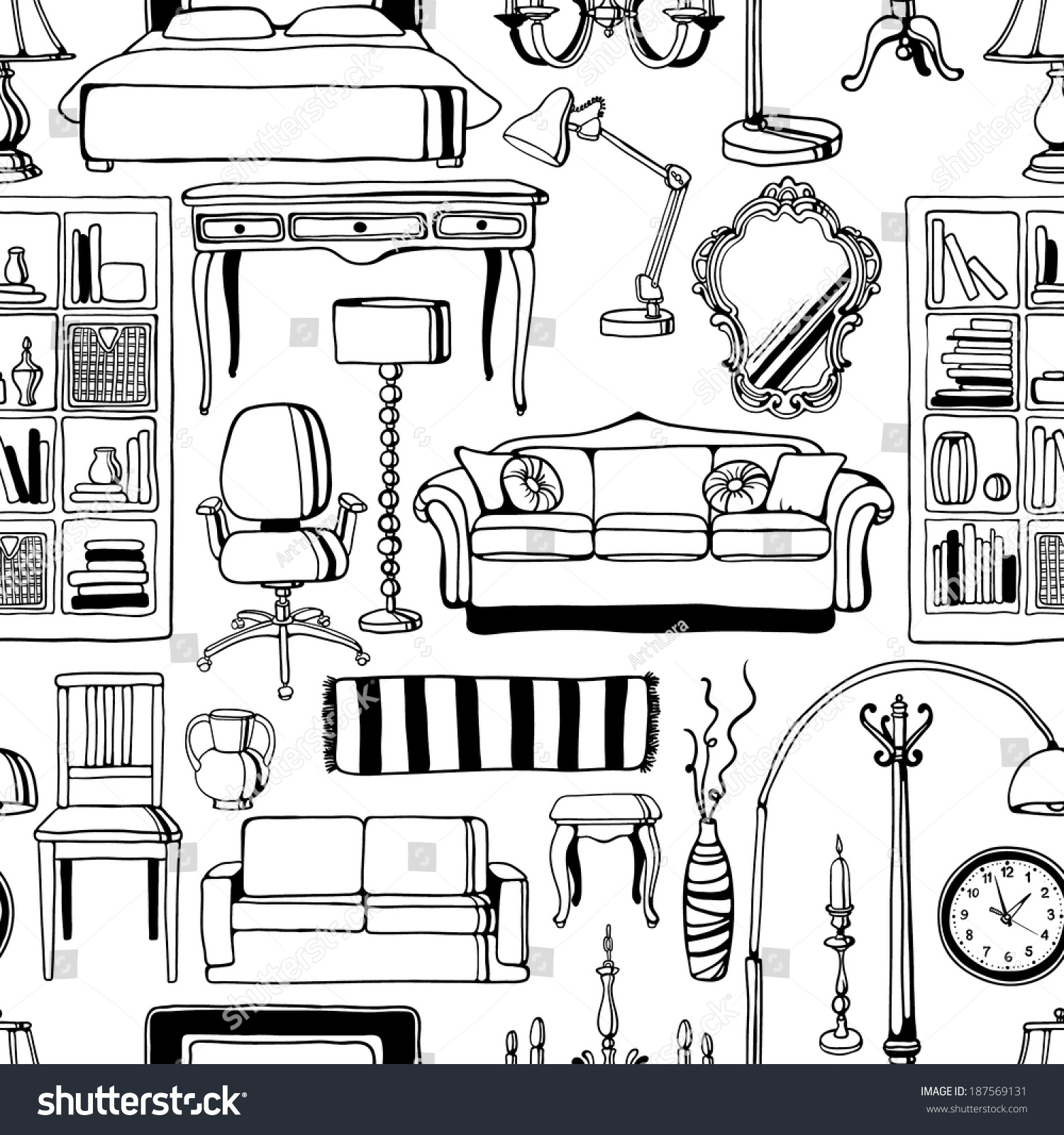 Handdrawn Furniture Seamless Pattern Stock Vector 187569131