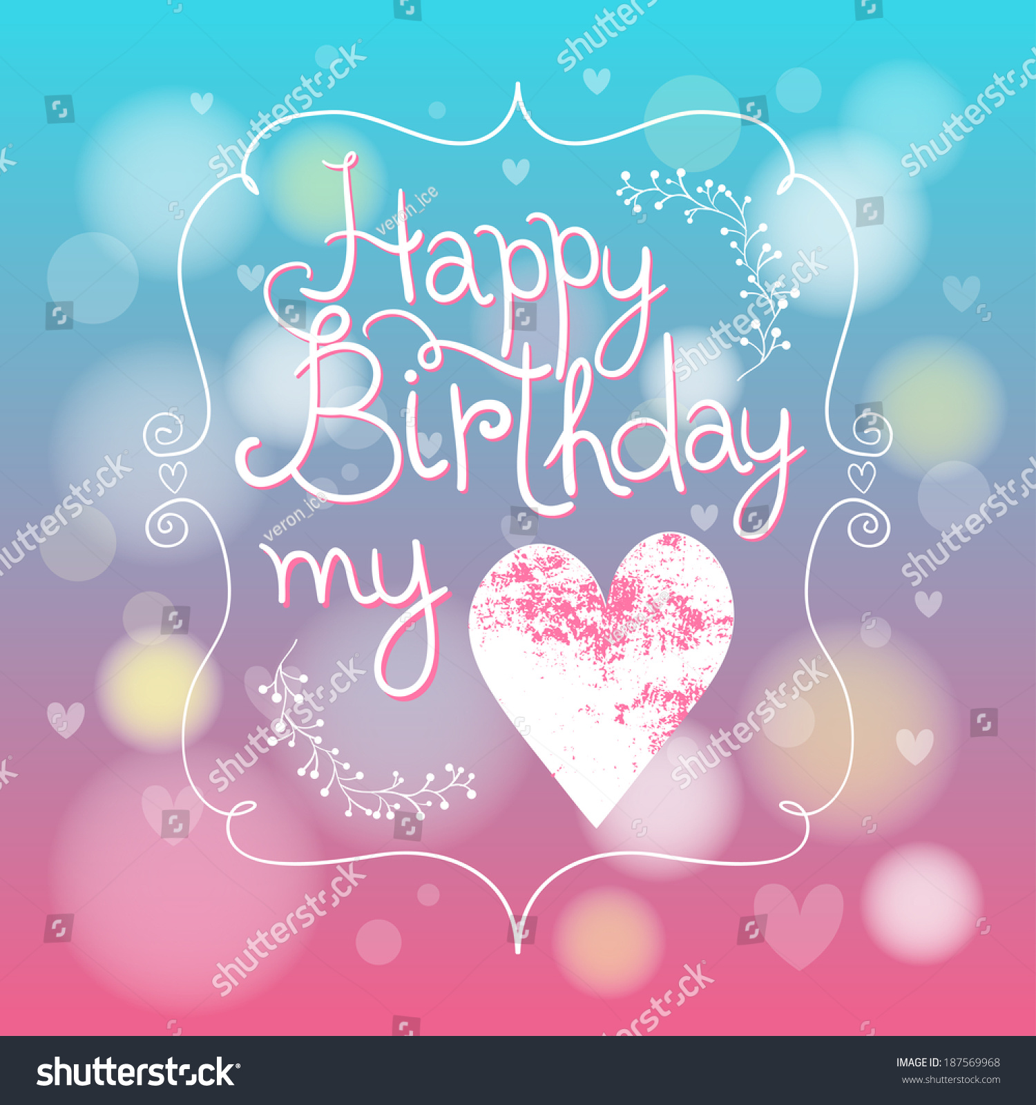 Cute Blue Pink Happy Birthday My Stock Vector Royalty Free