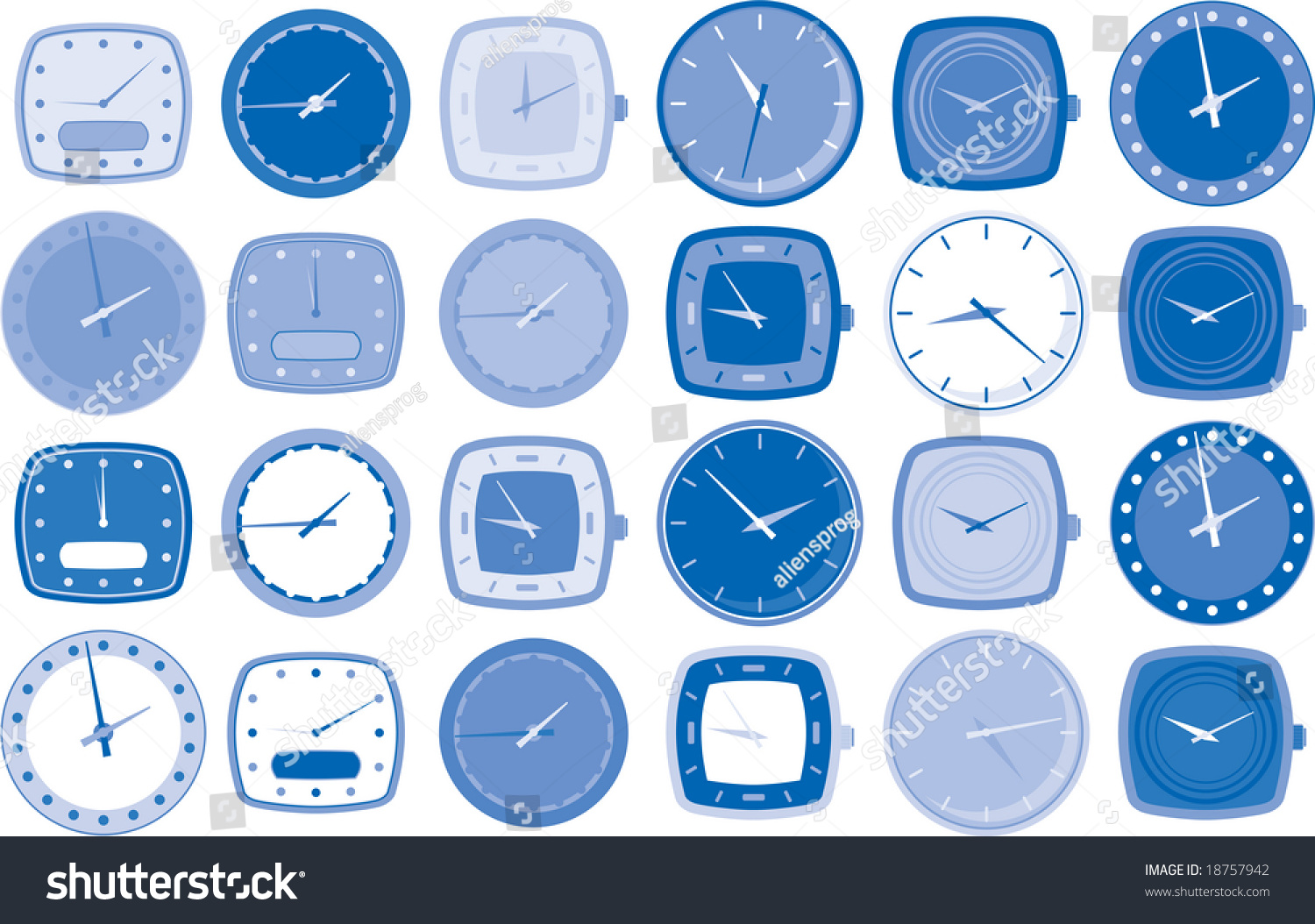 Various Watch Or Clock Face Vector Illustrations In