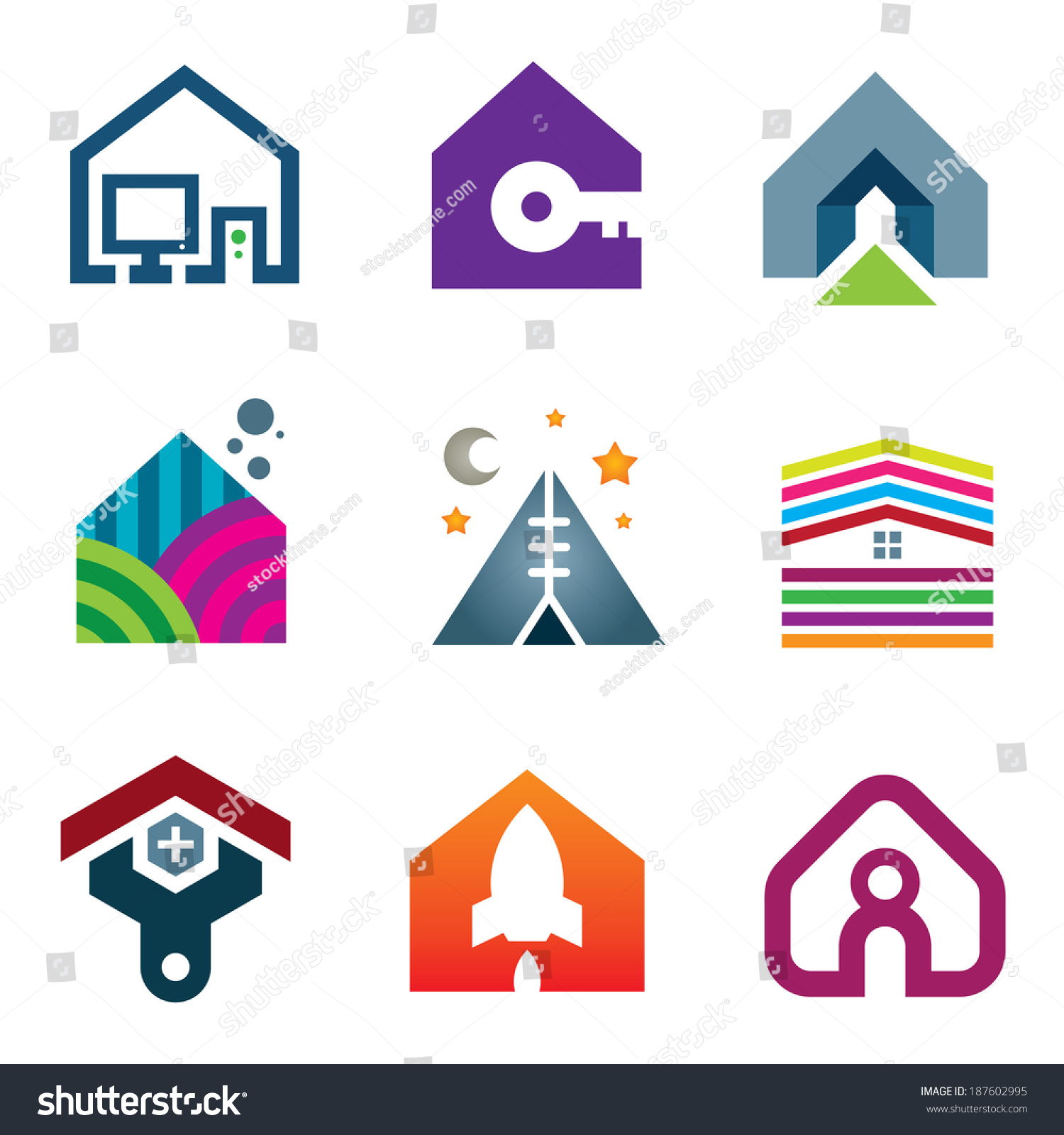 Beautiful modern house creative ideas construction stock for Modern house logo