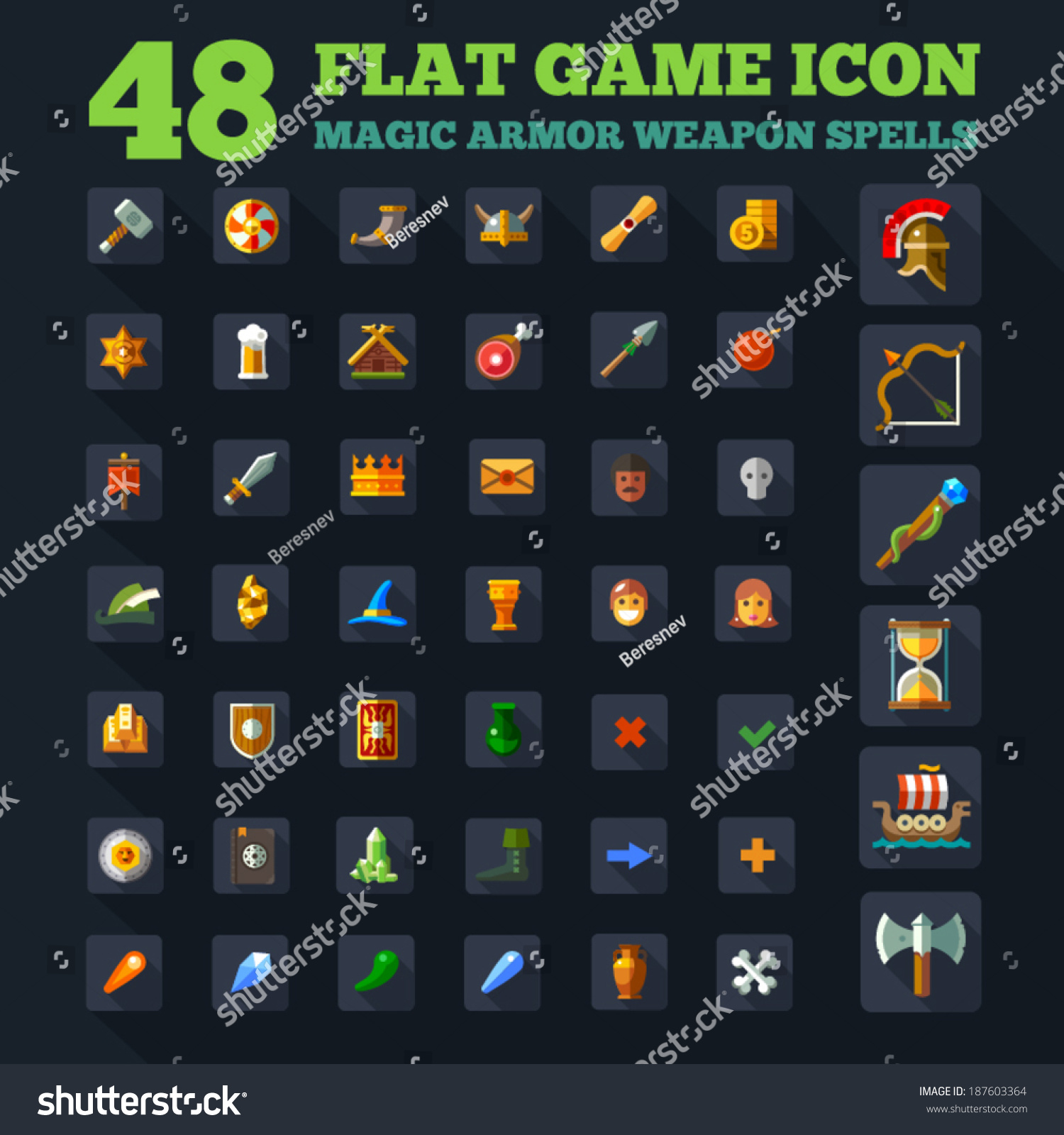 Game Icon Set Vector Game Flat Stock Vector 187603364 - Shutterstock