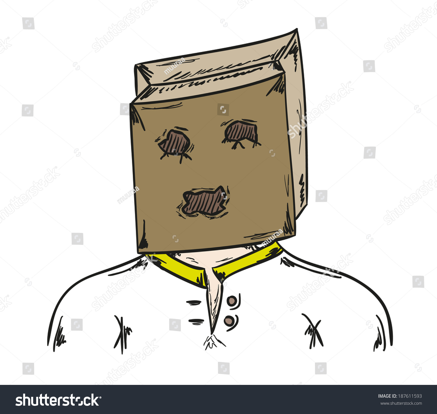 Paper bag sketch - Sketch Of The Man With Paper Bag On His Head