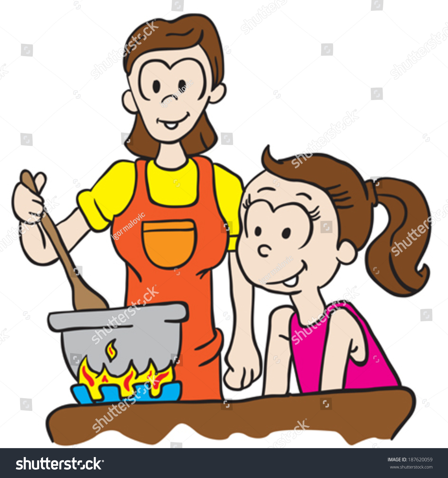 mother and daughter cooking cartoon illustration