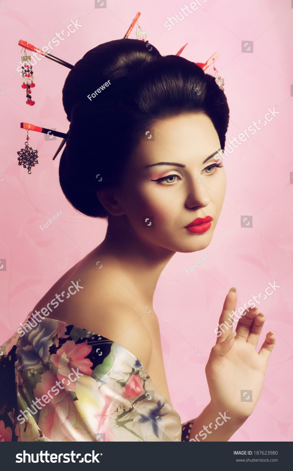 Portrait Japanese Geisha Woman Stock Photo 187623980