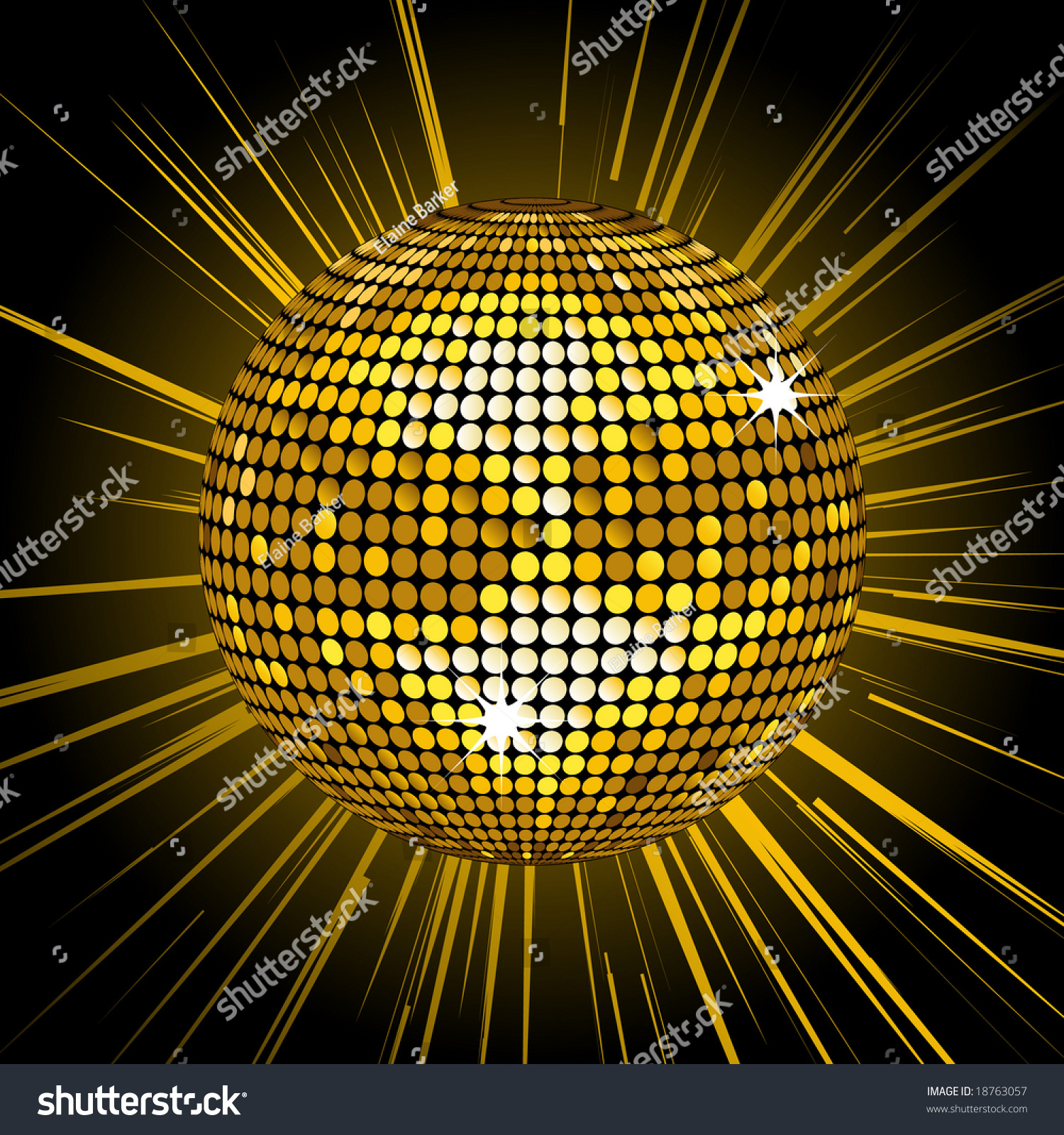Gold Disco Ball Vector Illustration 18763057 Shutterstock