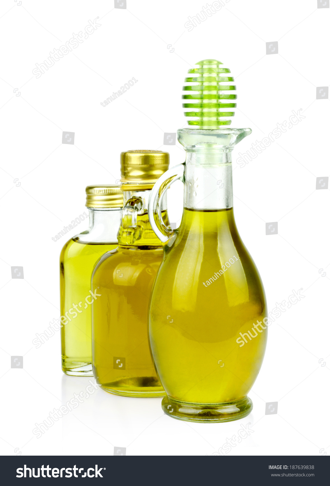 Three Bottle Olive Oil On White Stock Photo Edit Now