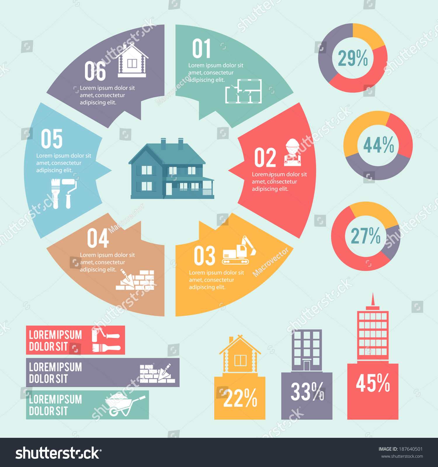construction engineering building infographic elements circle construction engineering and building infographic elements circle diagram vector illustration