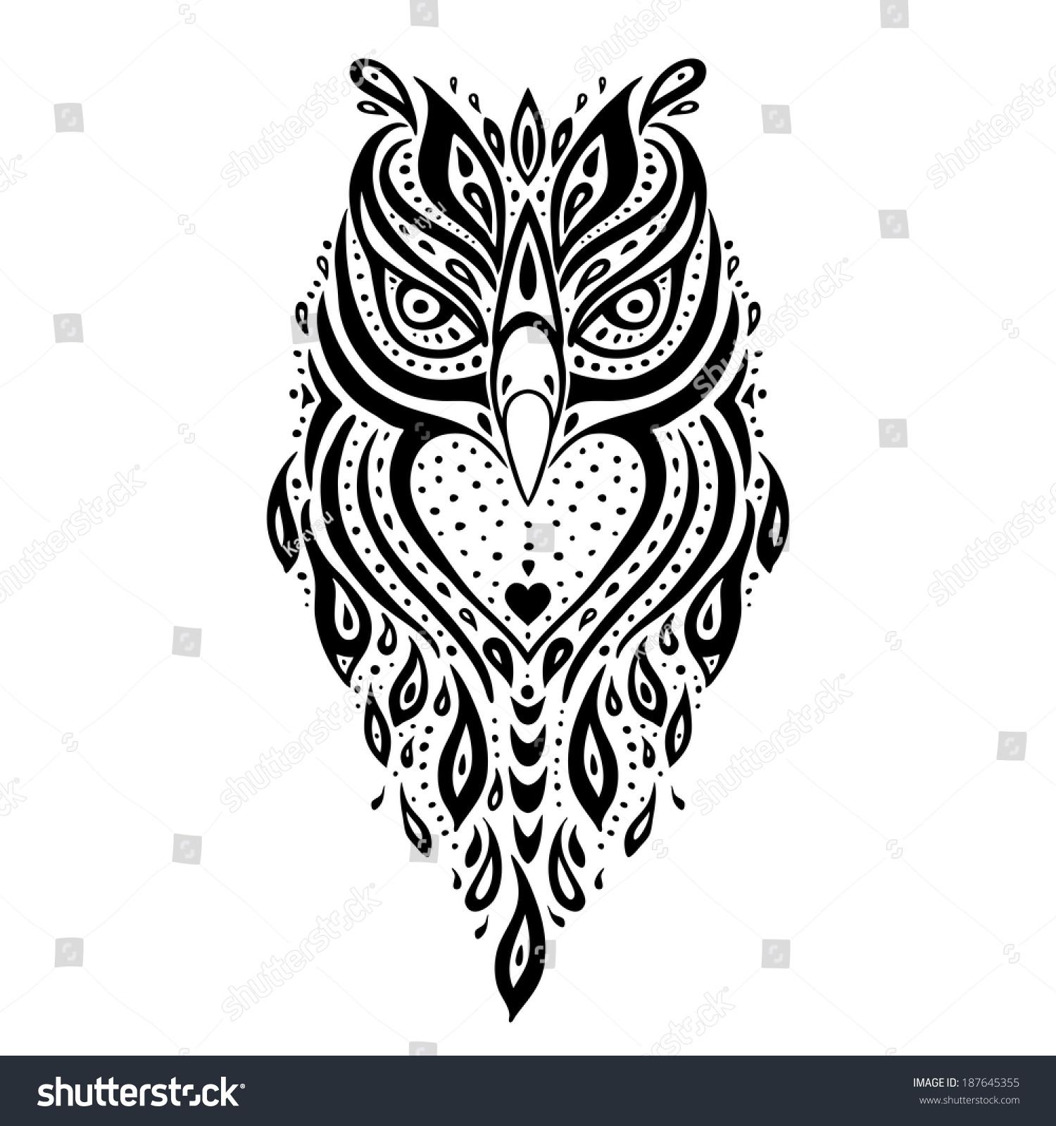 owl tribal pattern polynesian tattoo vector stock vector 187645355 shutterstock. Black Bedroom Furniture Sets. Home Design Ideas