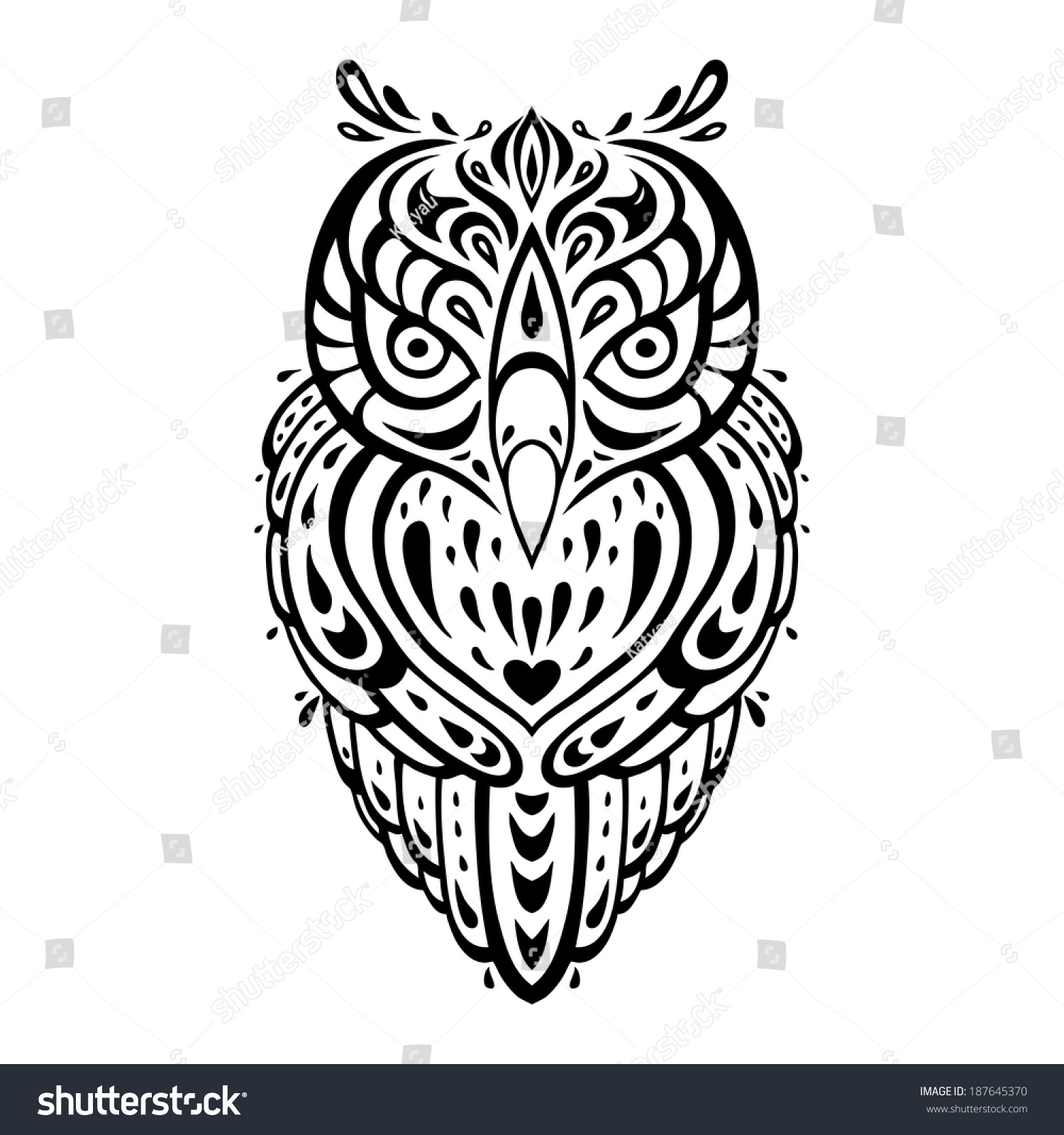 97f3f4025 Owl. Tribal pattern. Polynesian tattoo.… Stock Photo 187645370 ...