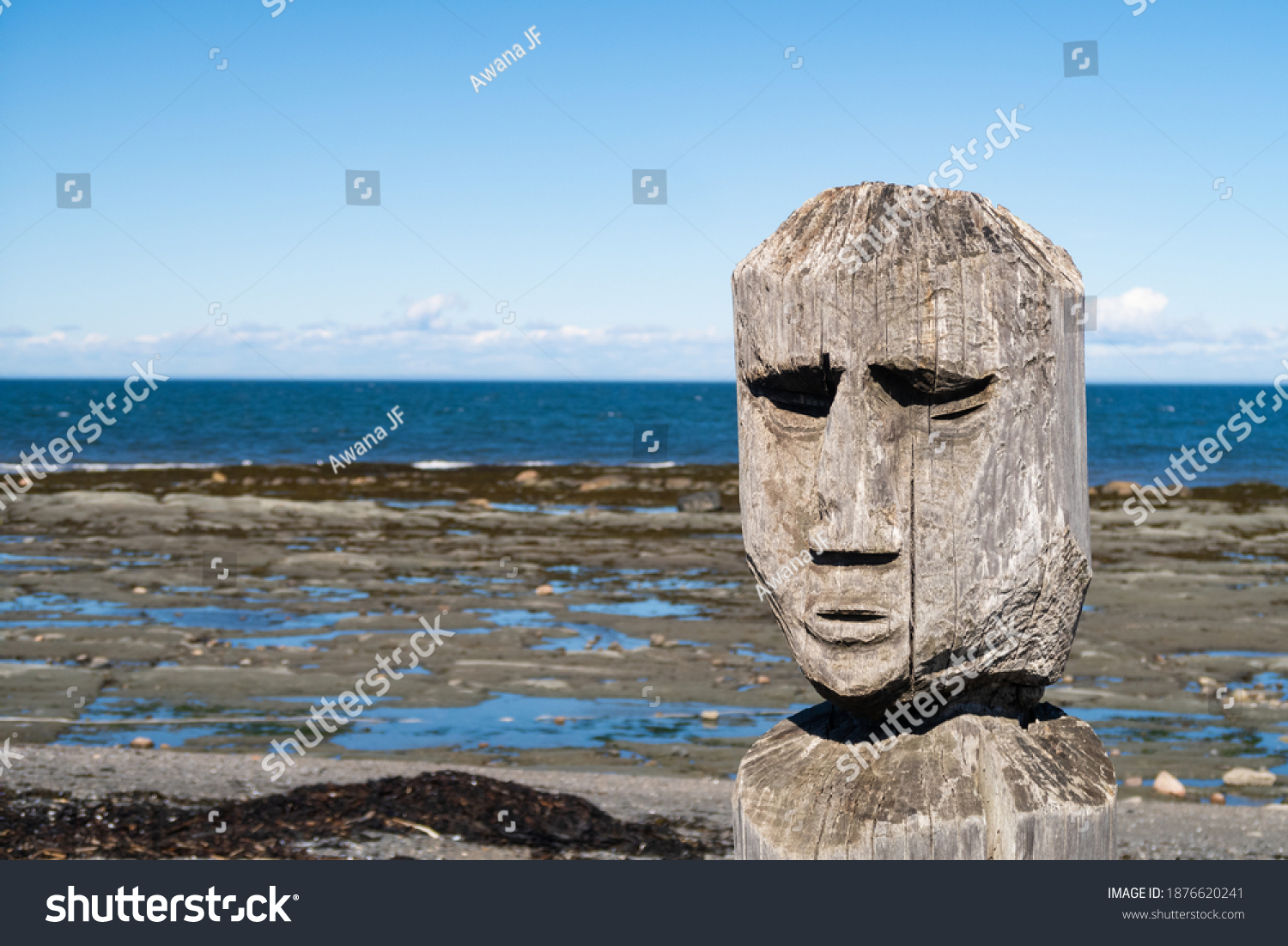 Sainte-Flavie, Canada - september 2020 : Isolated view of a concrete statue at the Marcel Gagnon art centre