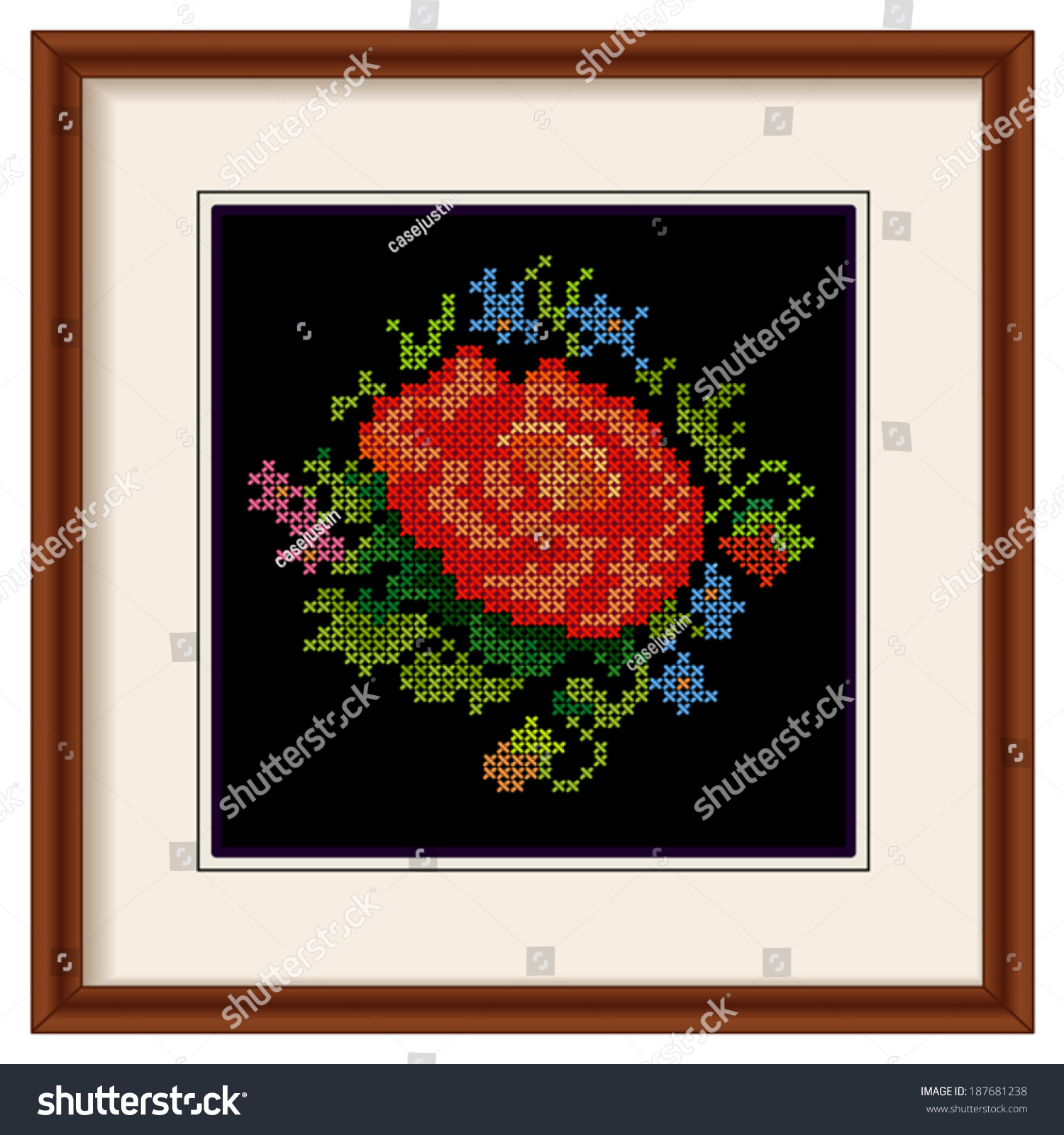 Embroidery Rose Mahogany Wood Picture Frame Stock Vector 187681238 ...