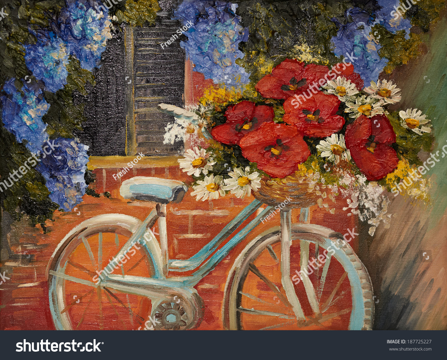 Oil painting on canvas flowers near a wall bike with a for Bicycle painting near me