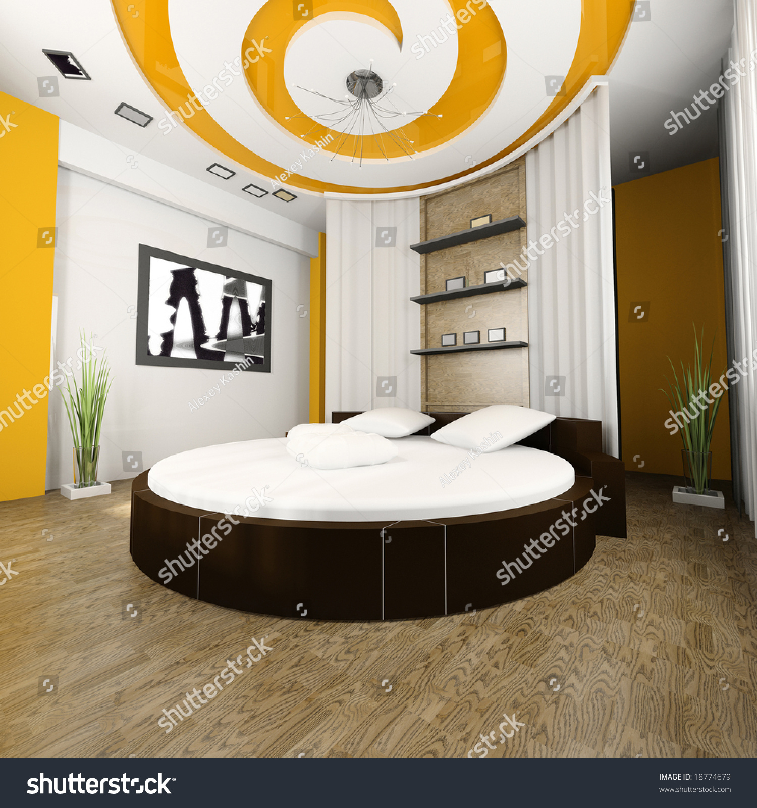 Sleeping room with a round bed 3d image. Sleeping Room Round Bed 3d Image Stock Illustration 18774679