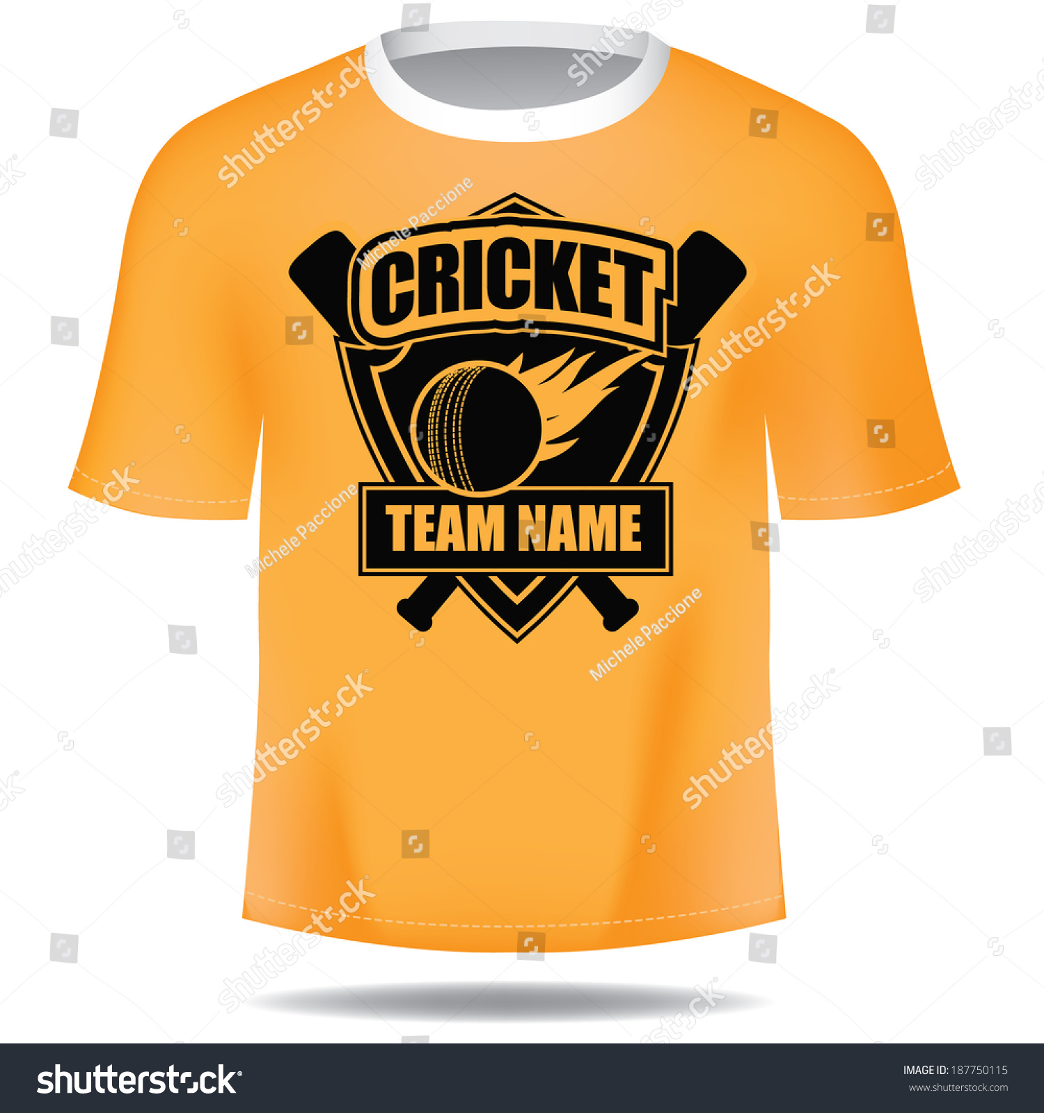White t shirt eps - Cricket Emblem Tee Shirt Eps 10 Vector Grouped For Easy Editing No Open Shapes