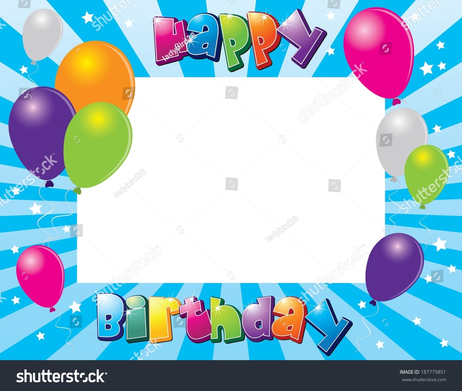 Happy Birthday Photo Frame Vector Illustration Stock Vector ...