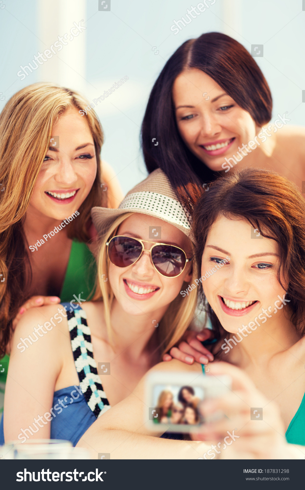 Summer Holidays Vacation Girls Taking Selfie Stock Photo