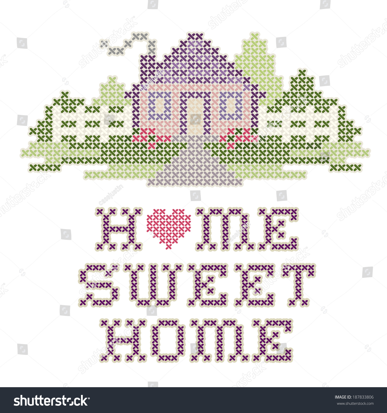 Home sweet home embroidery cross stitch stock illustration 187833806 shutterstock - Home sweet home designs ...