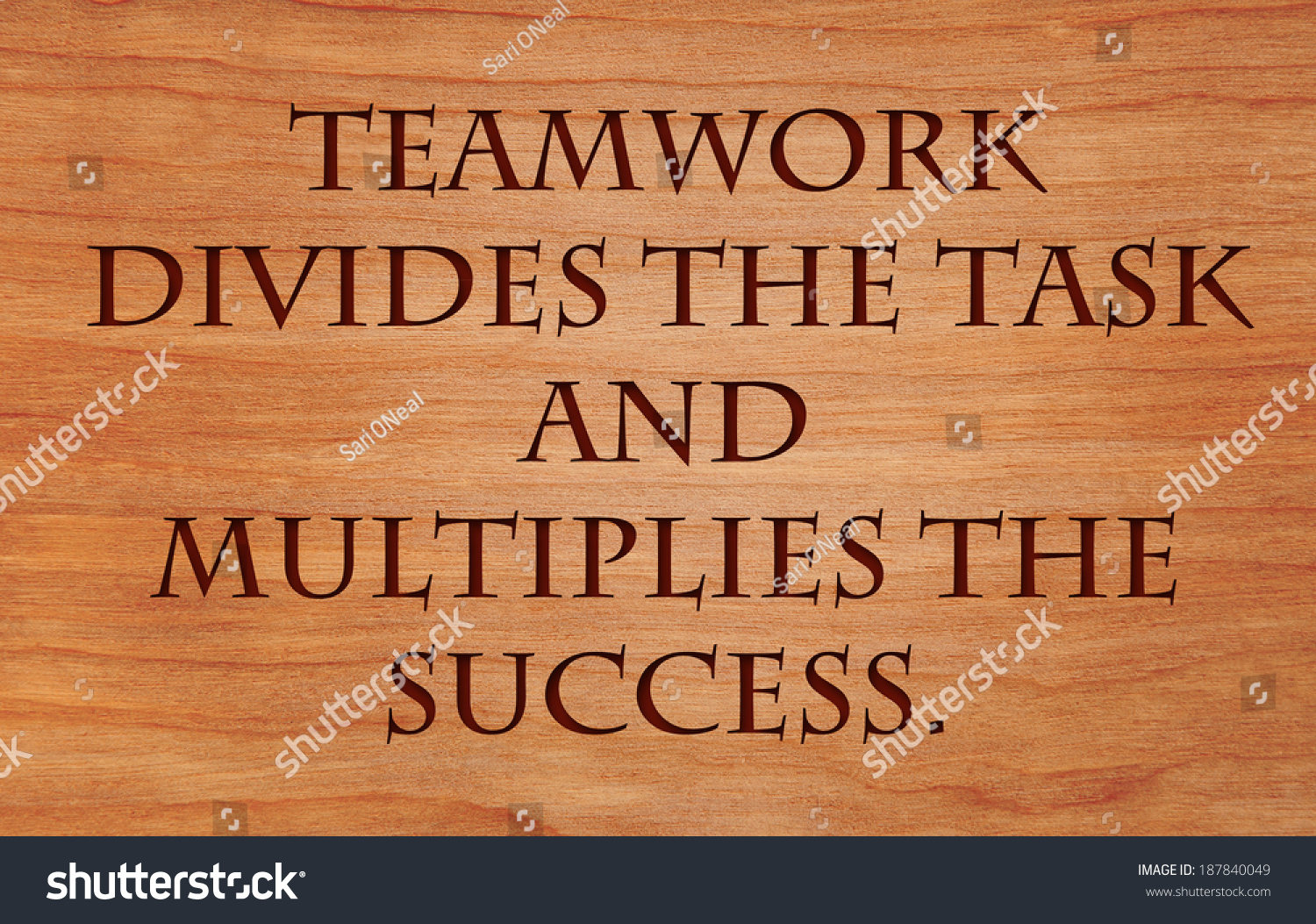 Teamwork Divides Task Multiplies Success Quote Stock Photo Edit Now