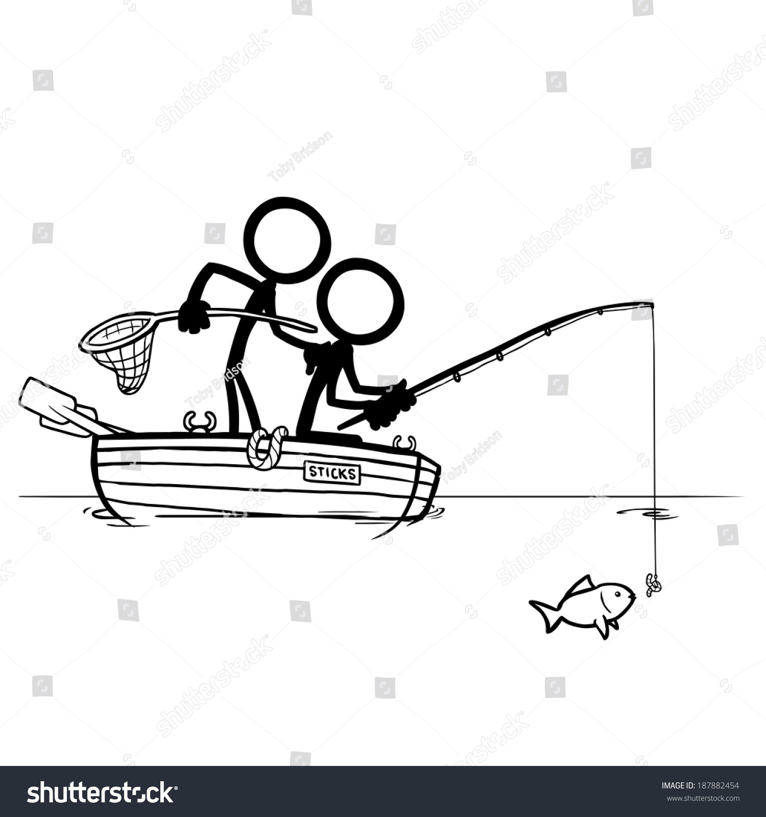 Stick Figures Fishing Stock Vector 187882454 - Shutterstock