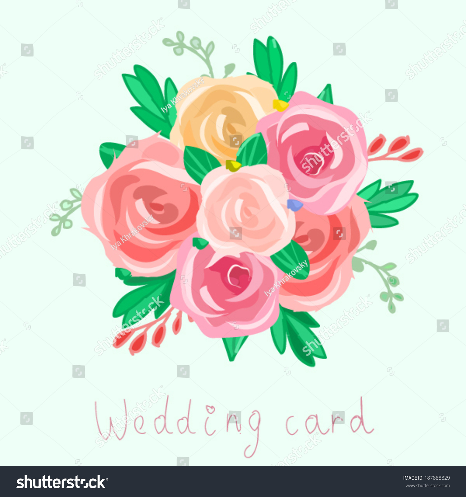 Flower Bouquet Vector Illustration Peony Roses Stock Vector Royalty