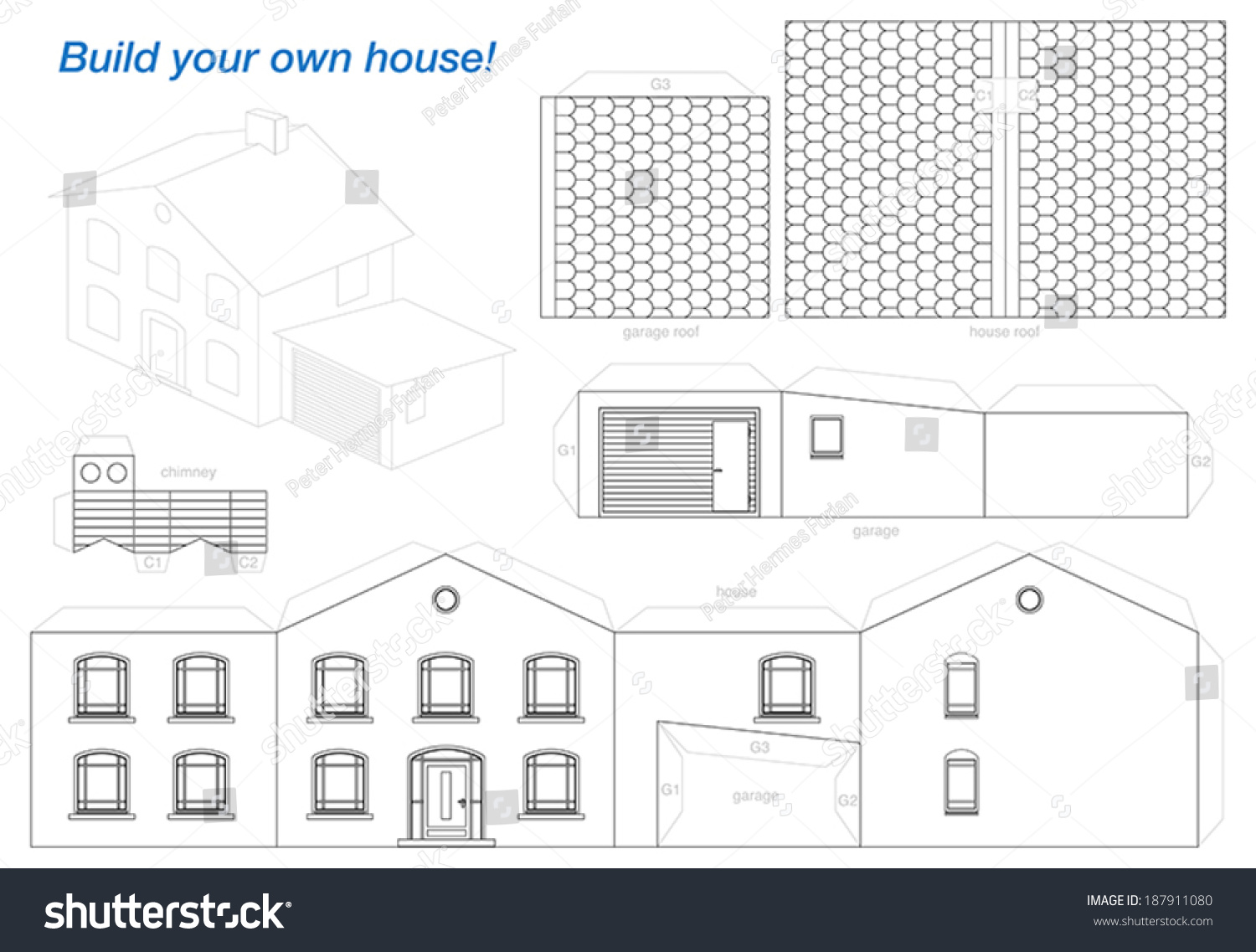 Marvelous Paper Model Of A House With Garage   Easy To Make   Print It On Heavy