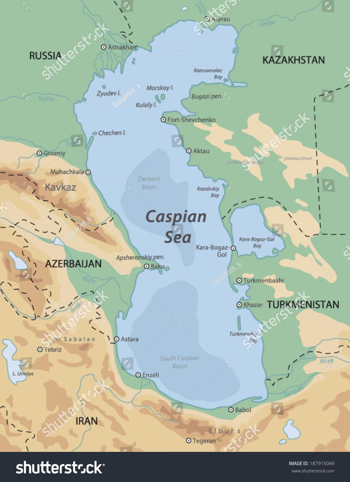 Caspian Sea Map Stock Vector Shutterstock - Caspian sea world map