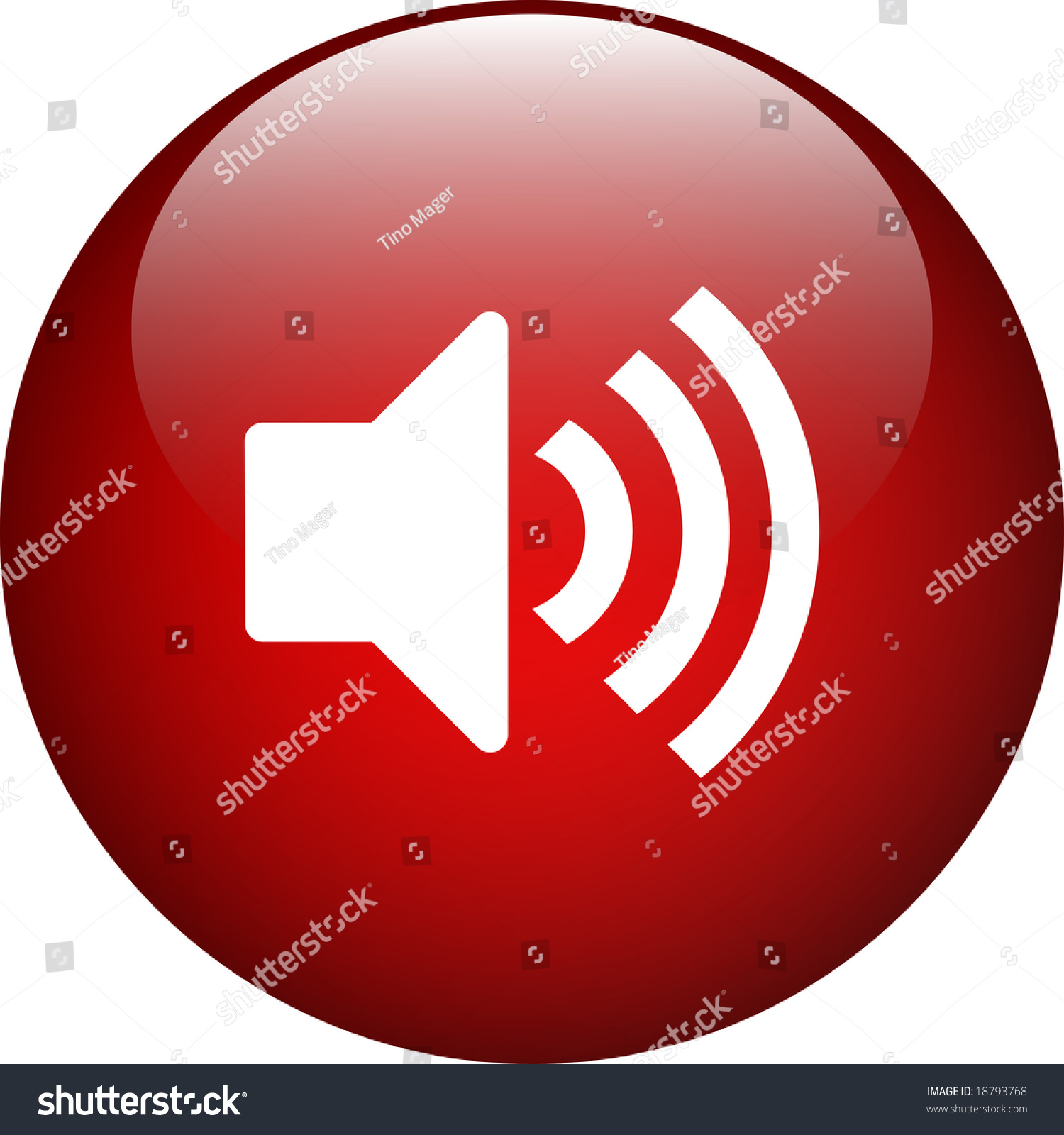 Volume Control Button : Red navigation volume control on button stock photo