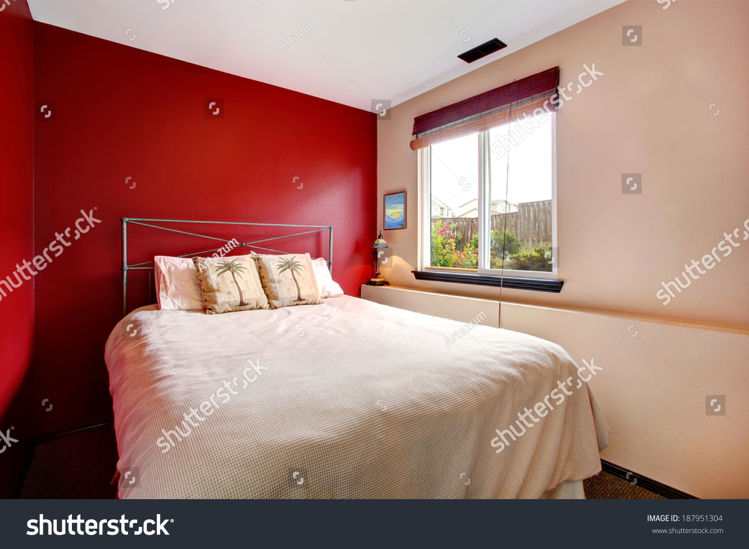 Small Bedroom Red Cream Wall Iron Stock Photo Edit Now 187951304
