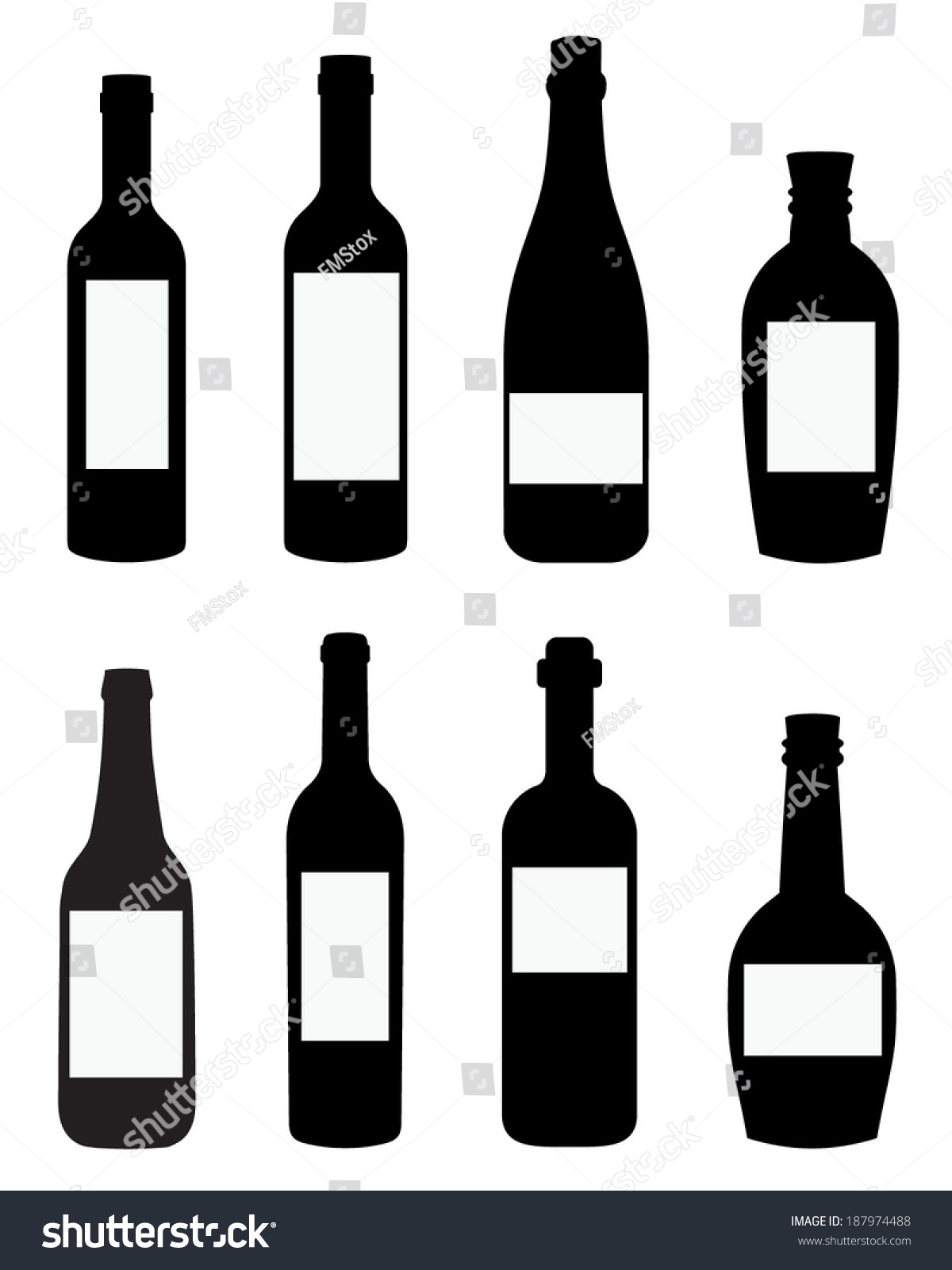 vector liquor wine bottle templates spot stock vector 187974488 shutterstock. Black Bedroom Furniture Sets. Home Design Ideas
