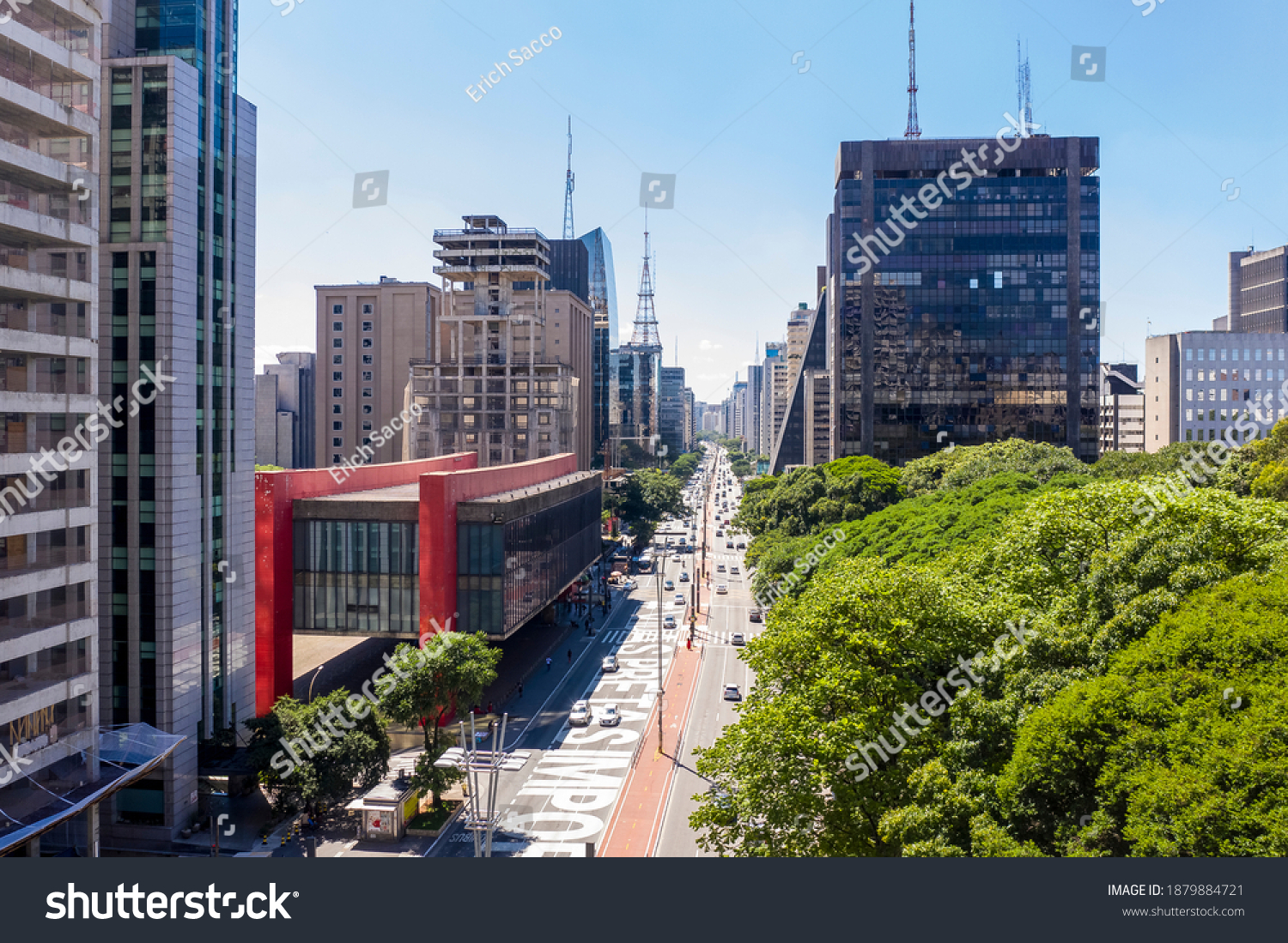 Paulista avenue, financial center of Sao Paulo and Brazil and MASP seen from above with its commercial buildings and intense movement of people and cars #1879884721