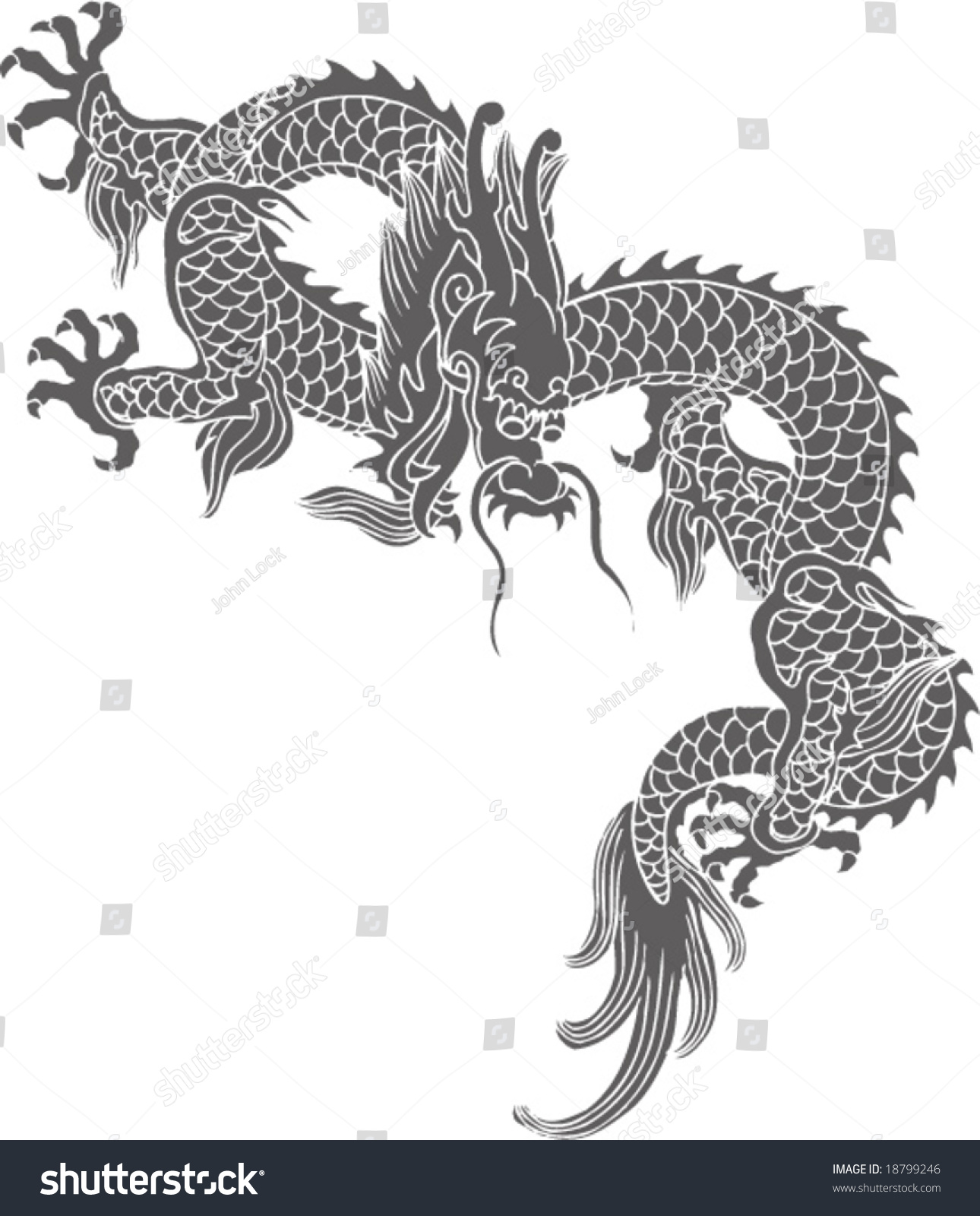 Vector Ancient Chinese Traditional Dragon Pattern Stock ...