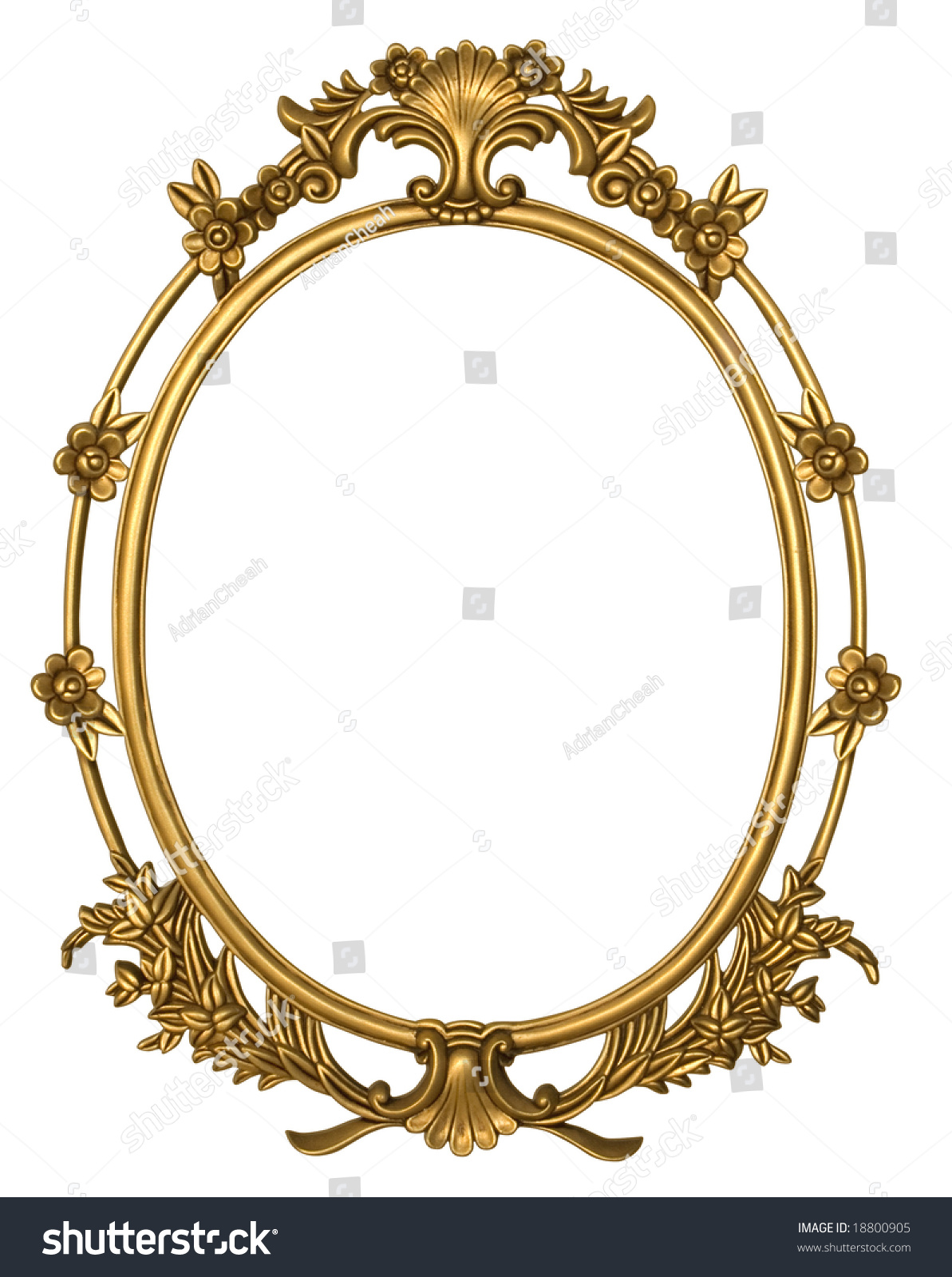 Oval Metal Frame Gold Floral Borders Stock Photo 18800905