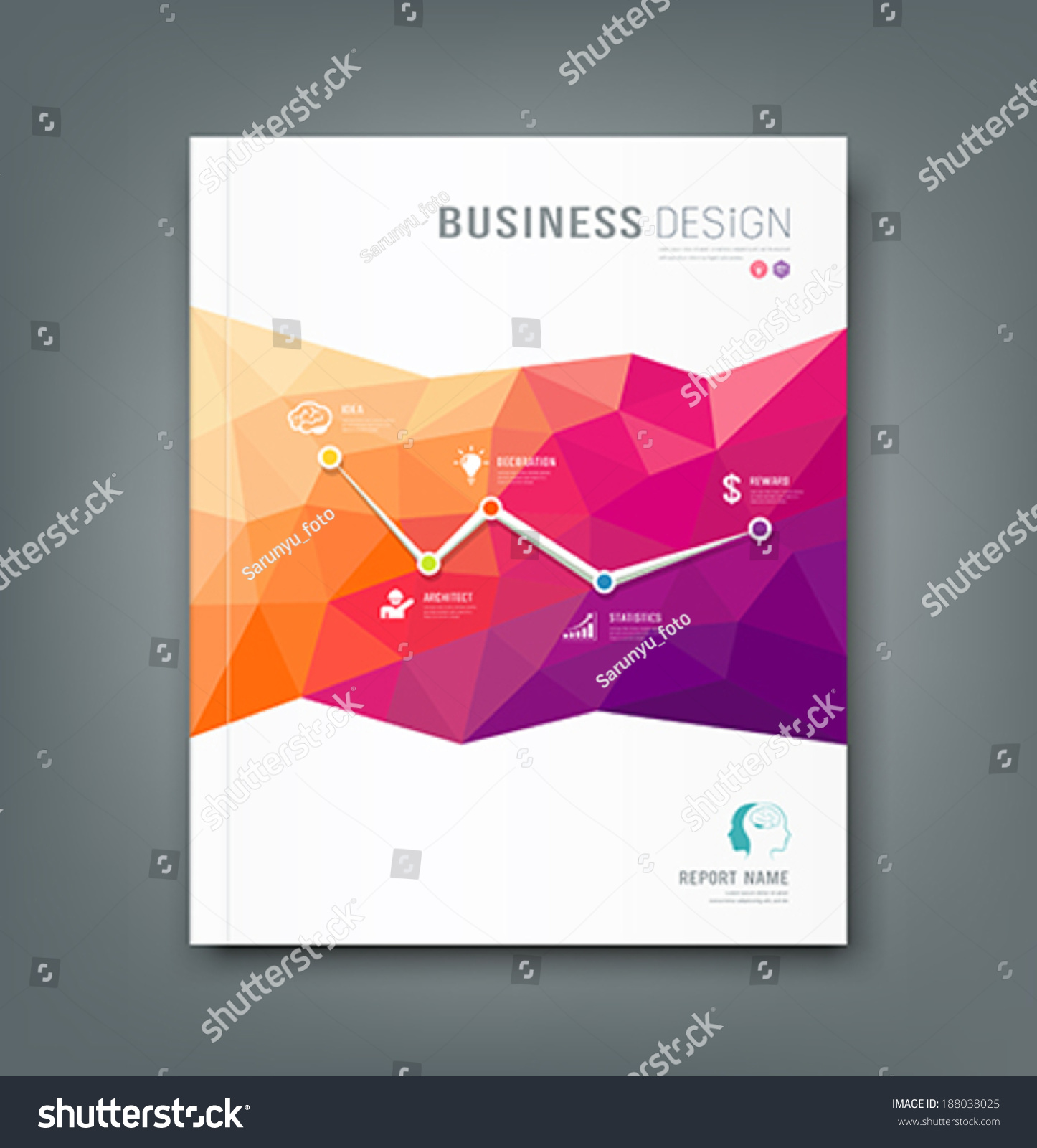 cover magazine geometric shapes infographic business stock