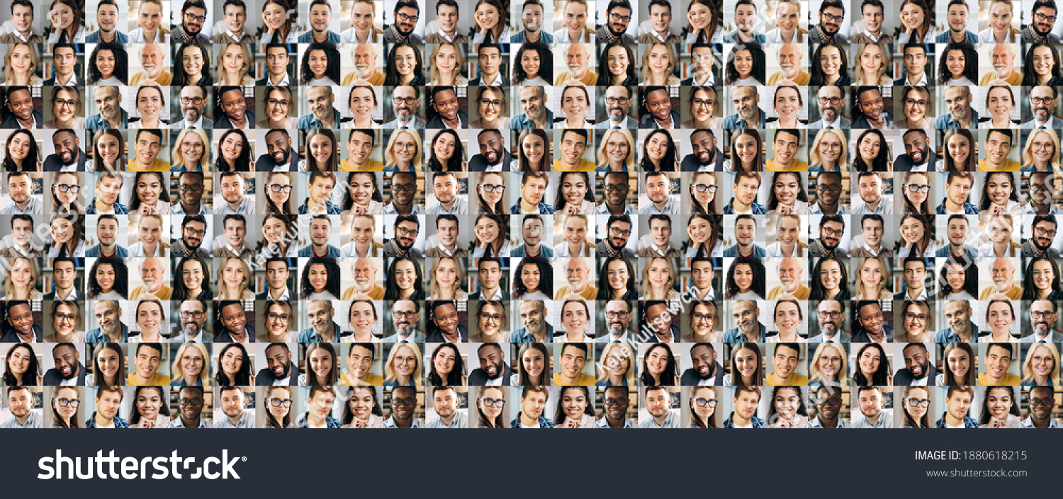 Collage of many multiracial business successful people of different age looking at camera. Business group of smiling successful faces on a screen of computer or laptop #1880618215